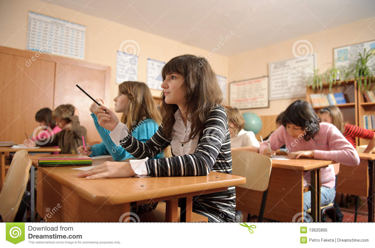Diligent Schoolchildren During Lesson Cute Girl Foreground