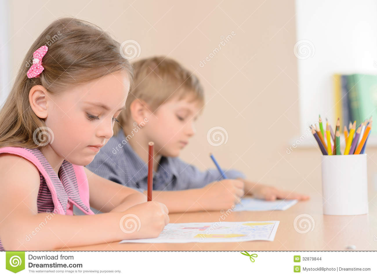 Diligent Young Learners. Stock Images - Image: 32879844