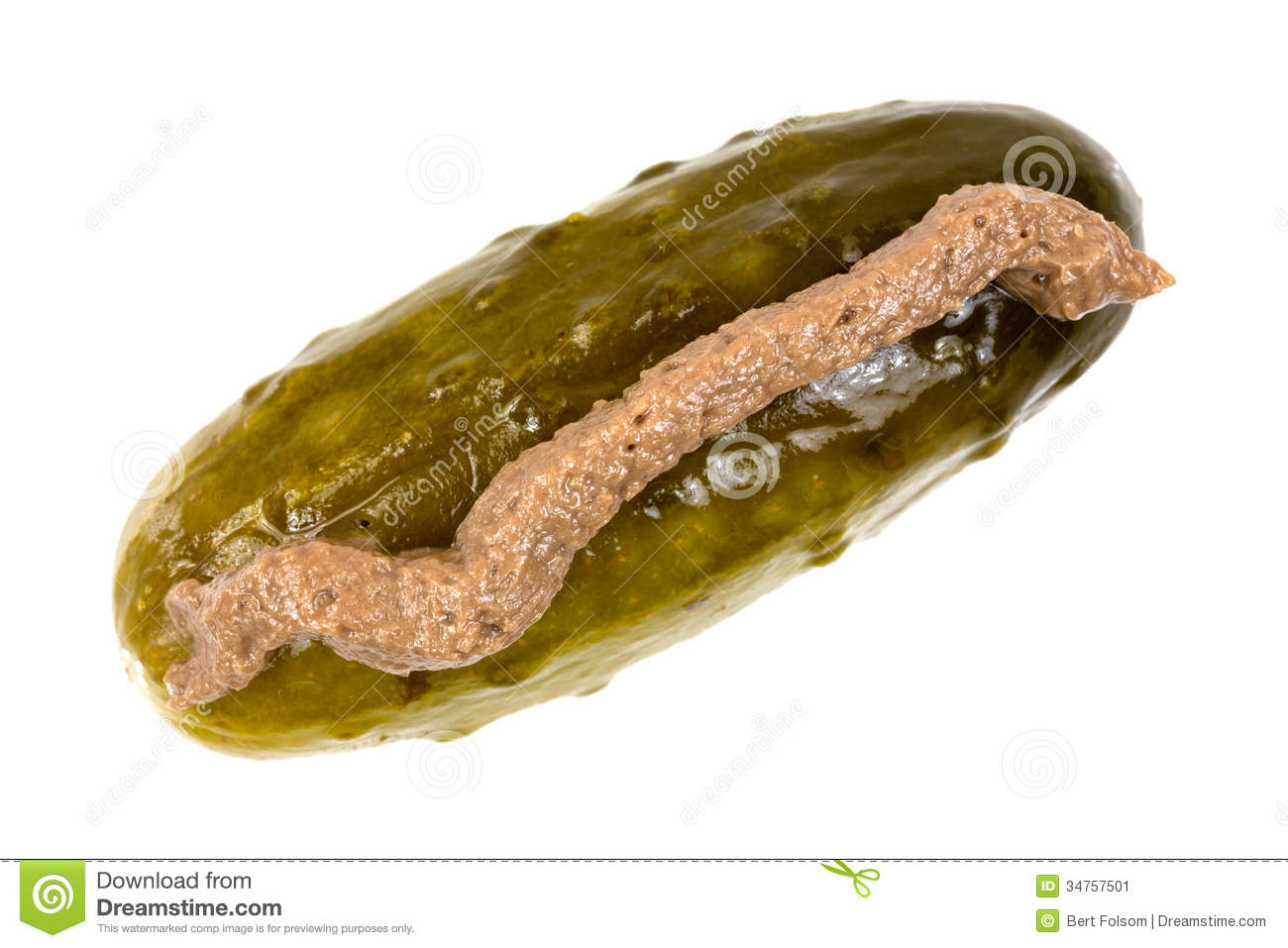 Dill Pickle With Anchovy Paste On Top Stock Image - Image: 34757501