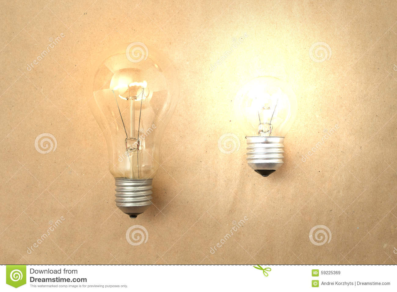 Dim And Bright Light Bulbs Stock Photo Image 59225369