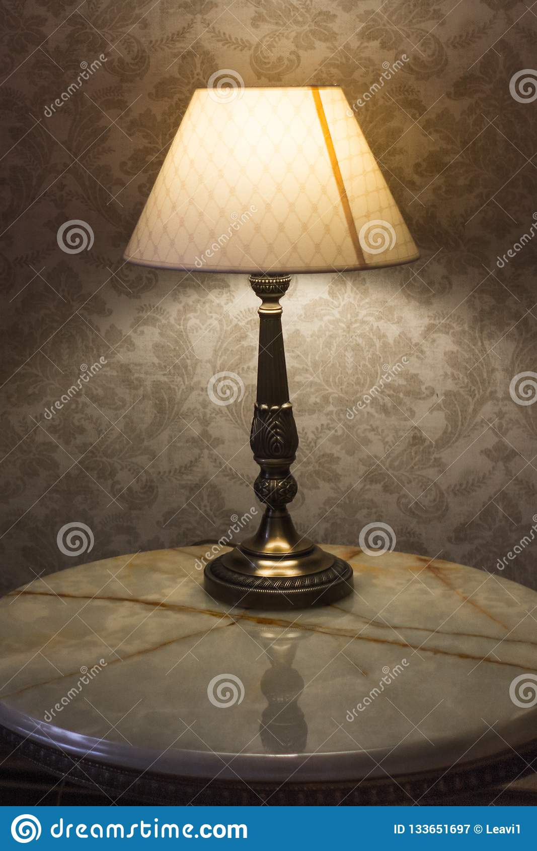 Dim Lights In The Bedroom From A Desk Lamp Stock Image Image Of Retro Furniture 133651697