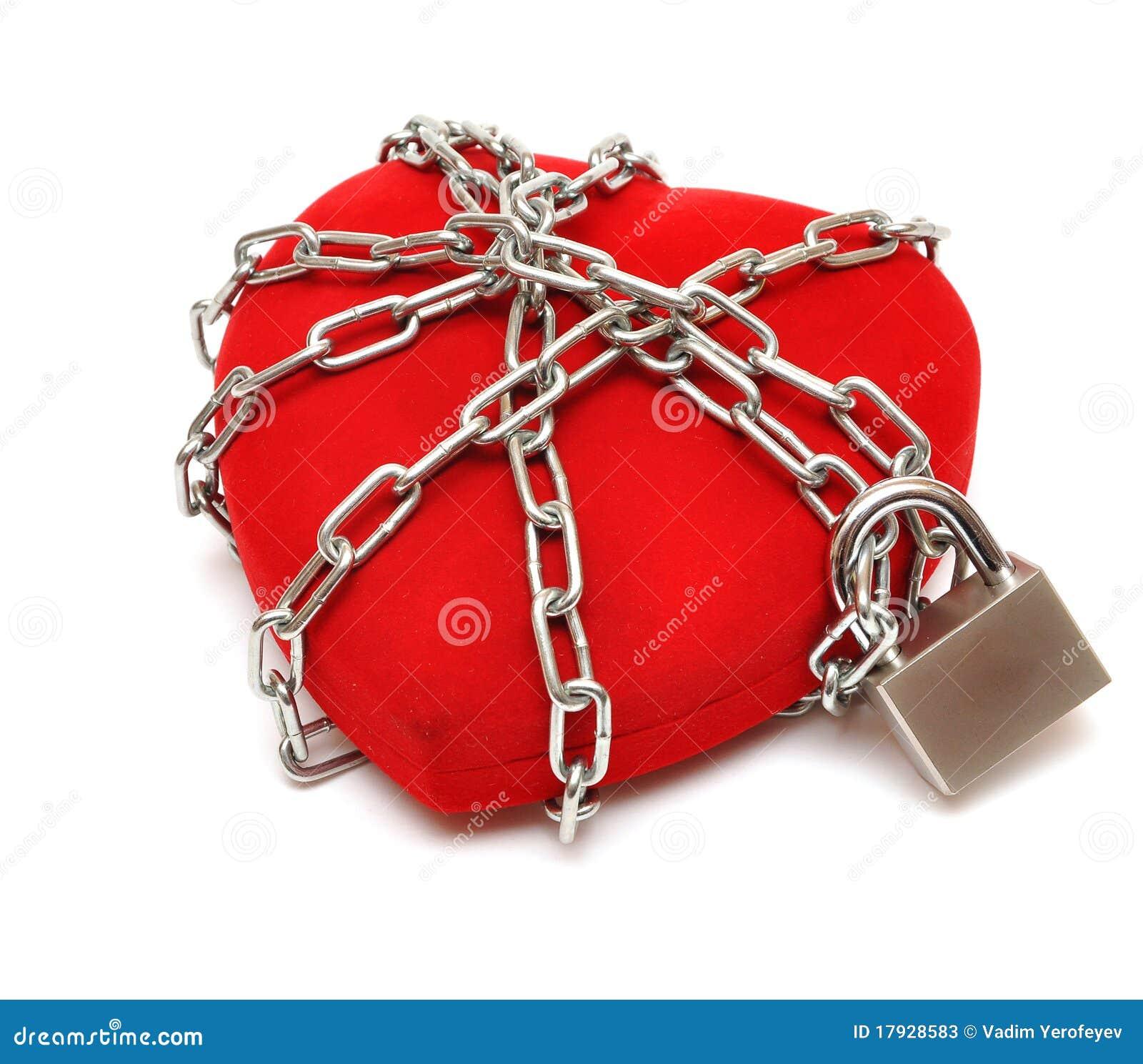 Dimensión de una variable bloqueada del corazón del amor con los encadenamientos