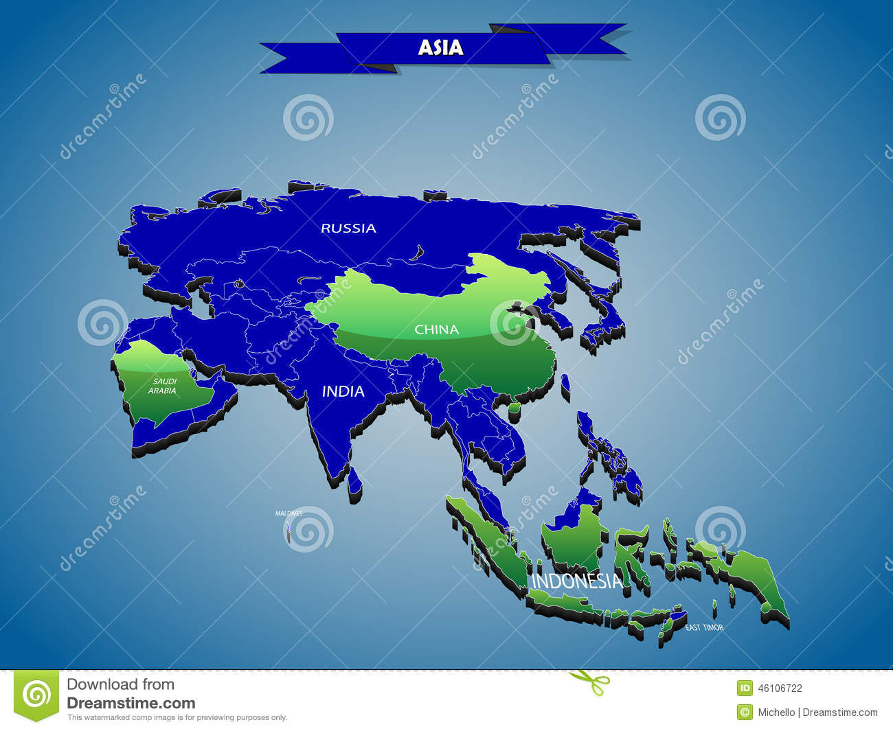 Political Map Of Asia Continent.3 Dimensional Infographics Political Map Of Asian Continent Stock
