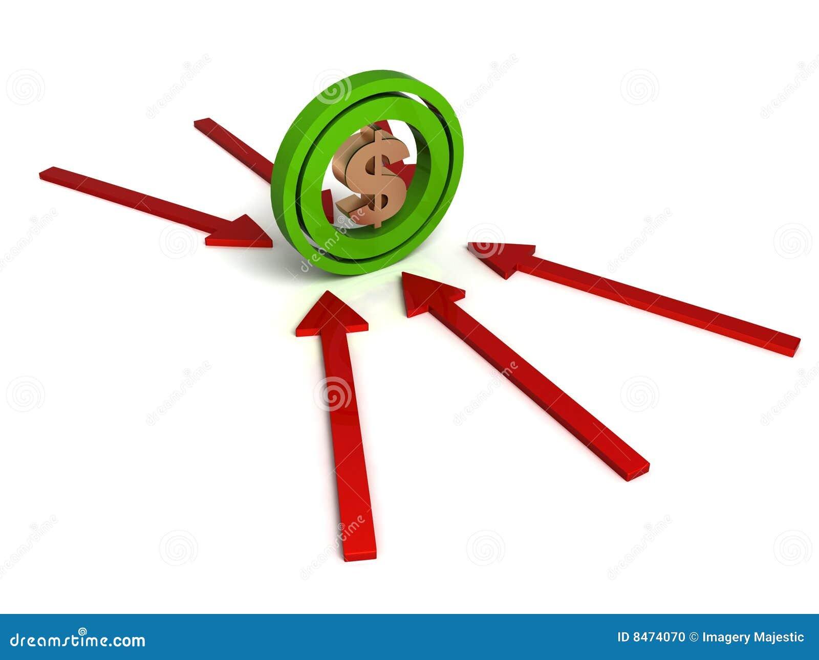 Dimensionellt dollartecken tre för pilar