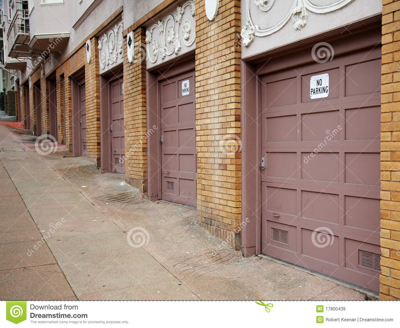 Diminishing Garage Doors Stock Image Image Of Beige 17800439