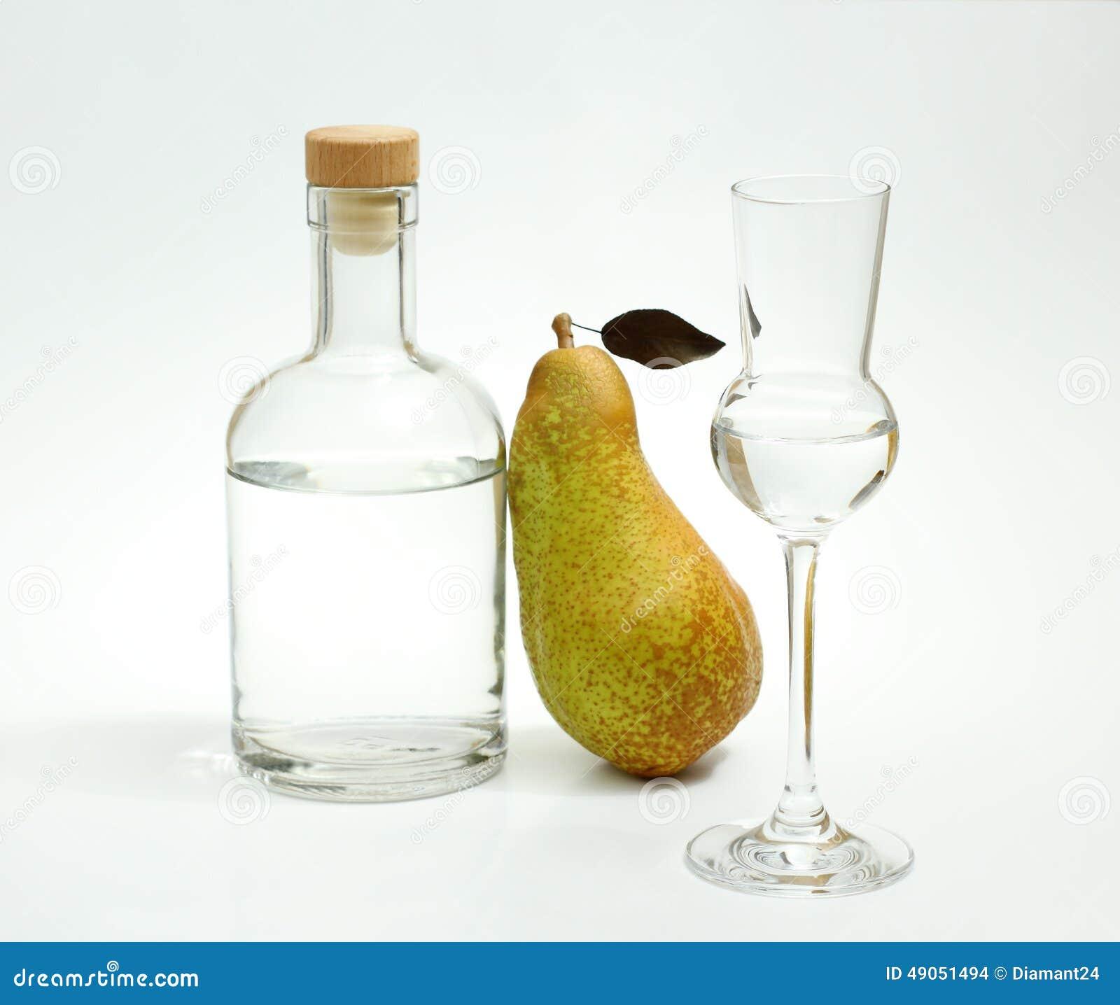 Diminua a pera de Fetel com garrafa e vidro do álcool