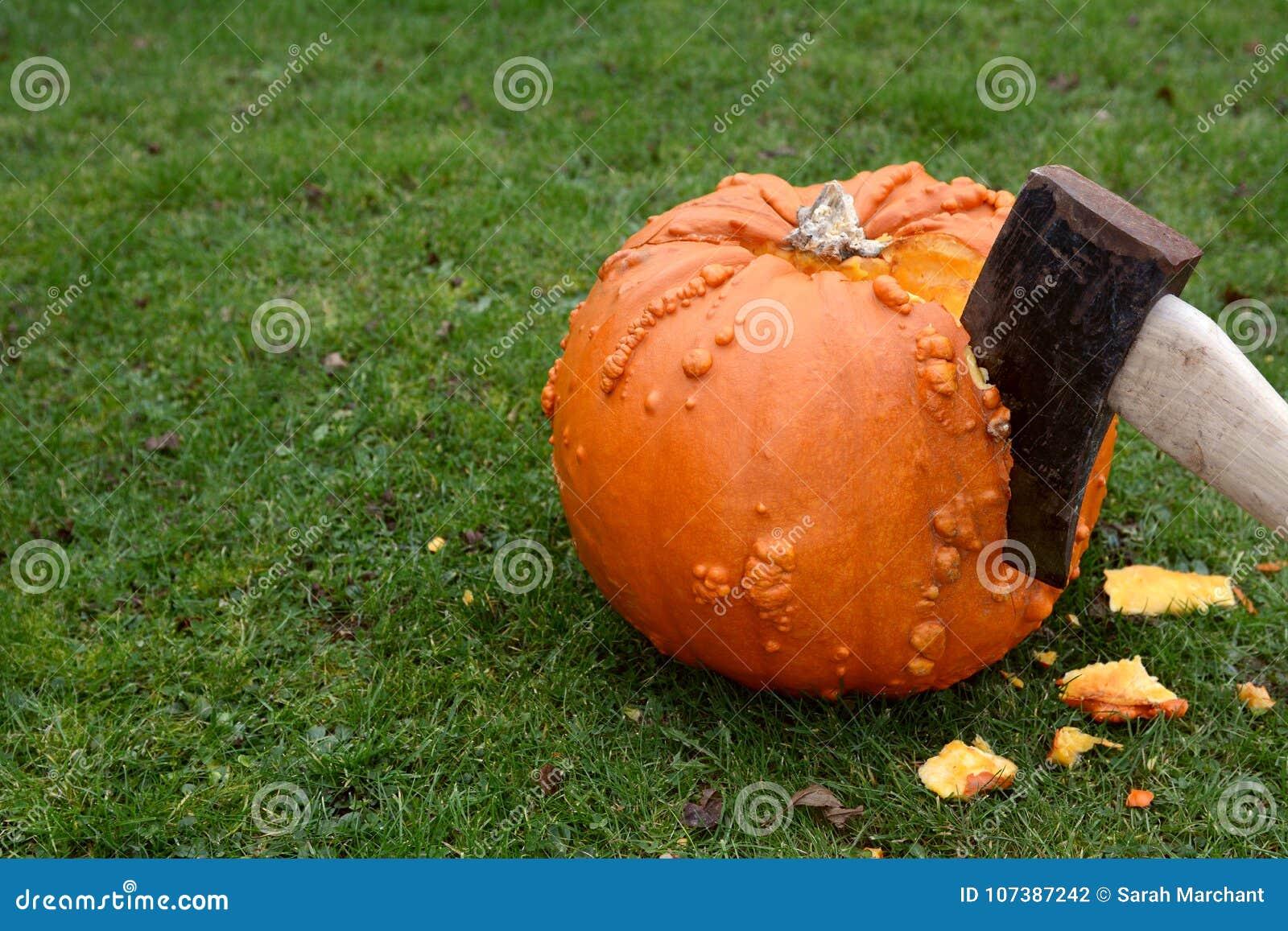 Diminuez entailler dans un grand potiron orange