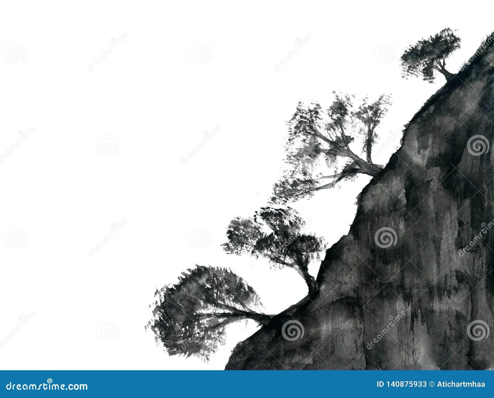 Dimma för berg för kines för träd för vattenfärgfärgpulverlandskap Traditionellt orientaliskt asia konststil bakgrund isolerad wh