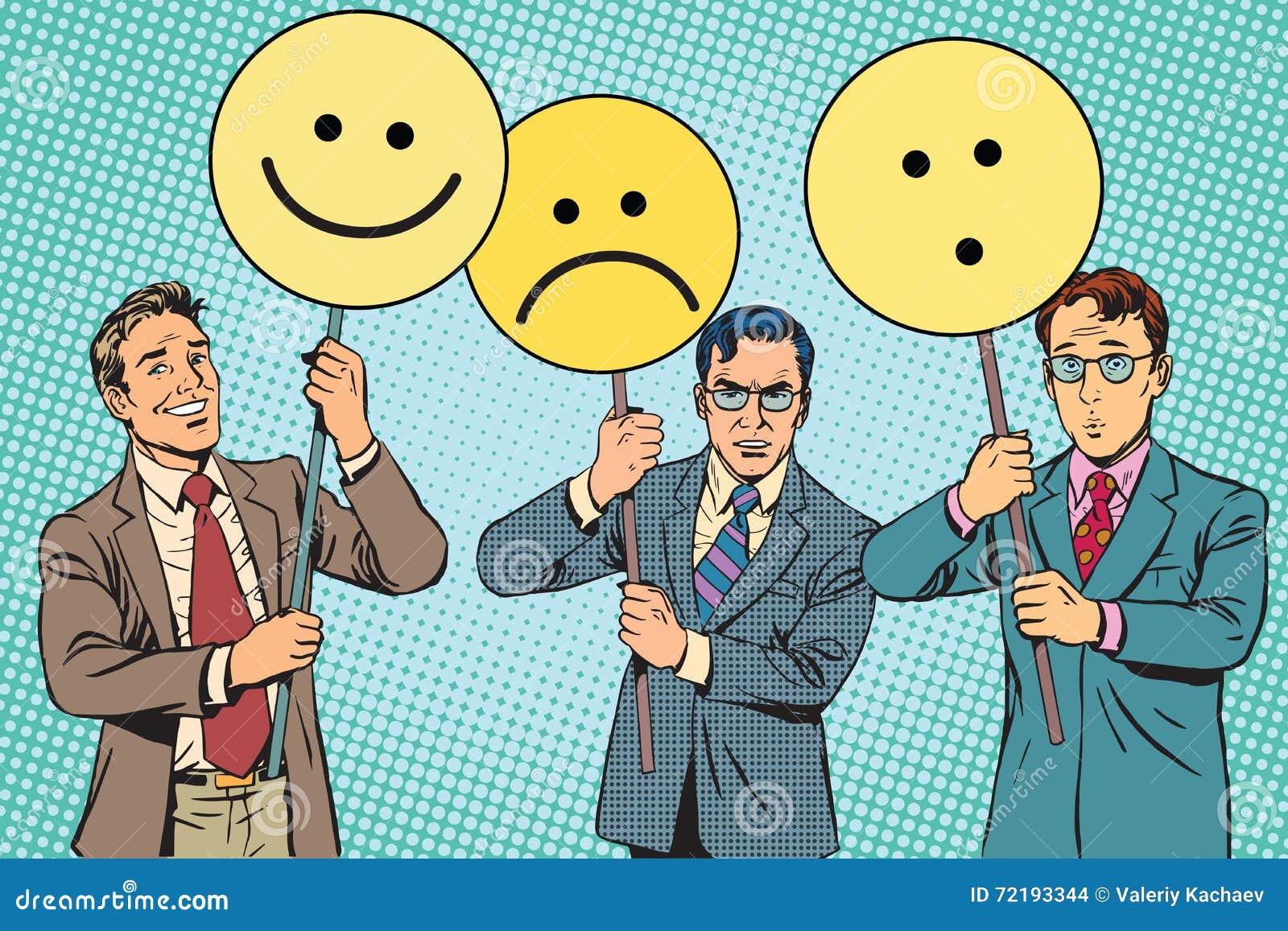 Dimostranti con la sorpresa di tristezza di gioia di Emoji dei cartelli