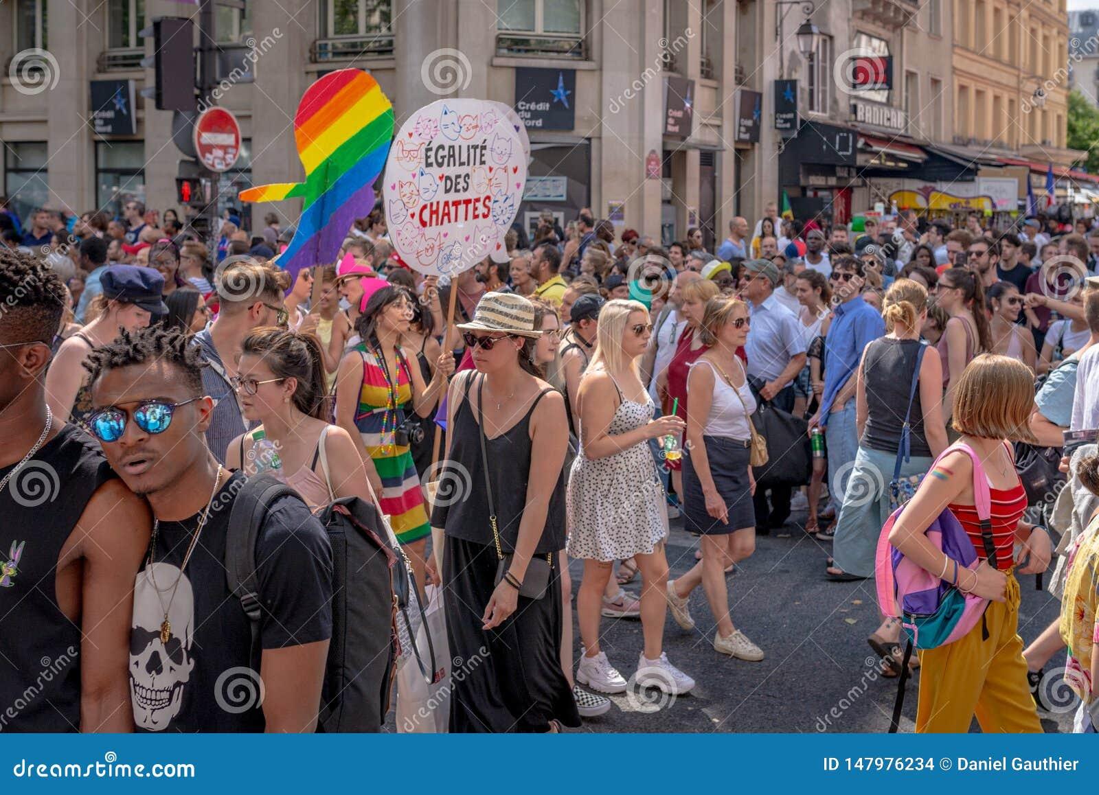 Dimostratori a Parigi 2018 Gay Pride