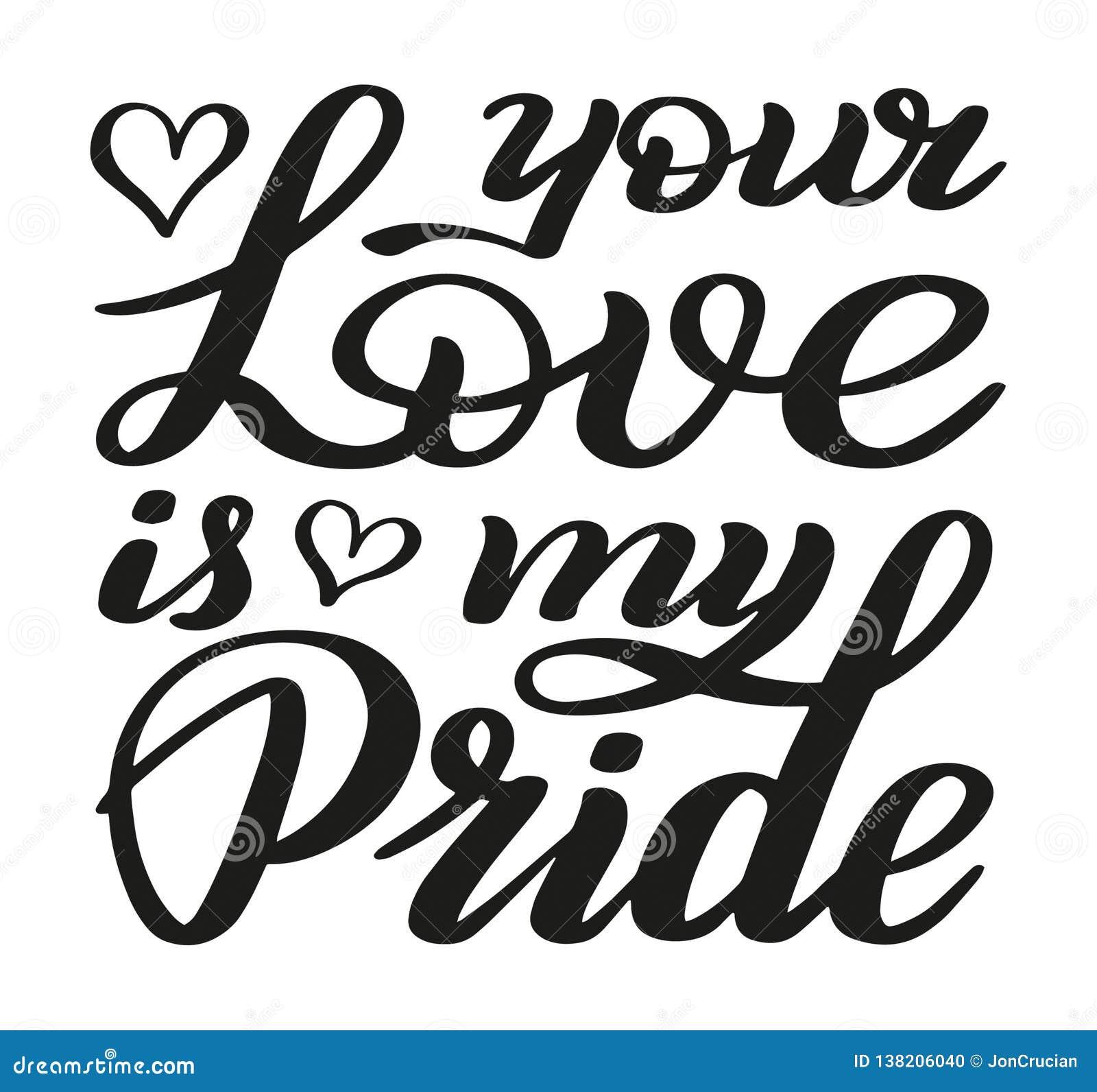 Din förälskelse är min stolthet vektor för förälskelse för förklaringbildjpg Romantisk handbokstäver hälsningar för garneringar f