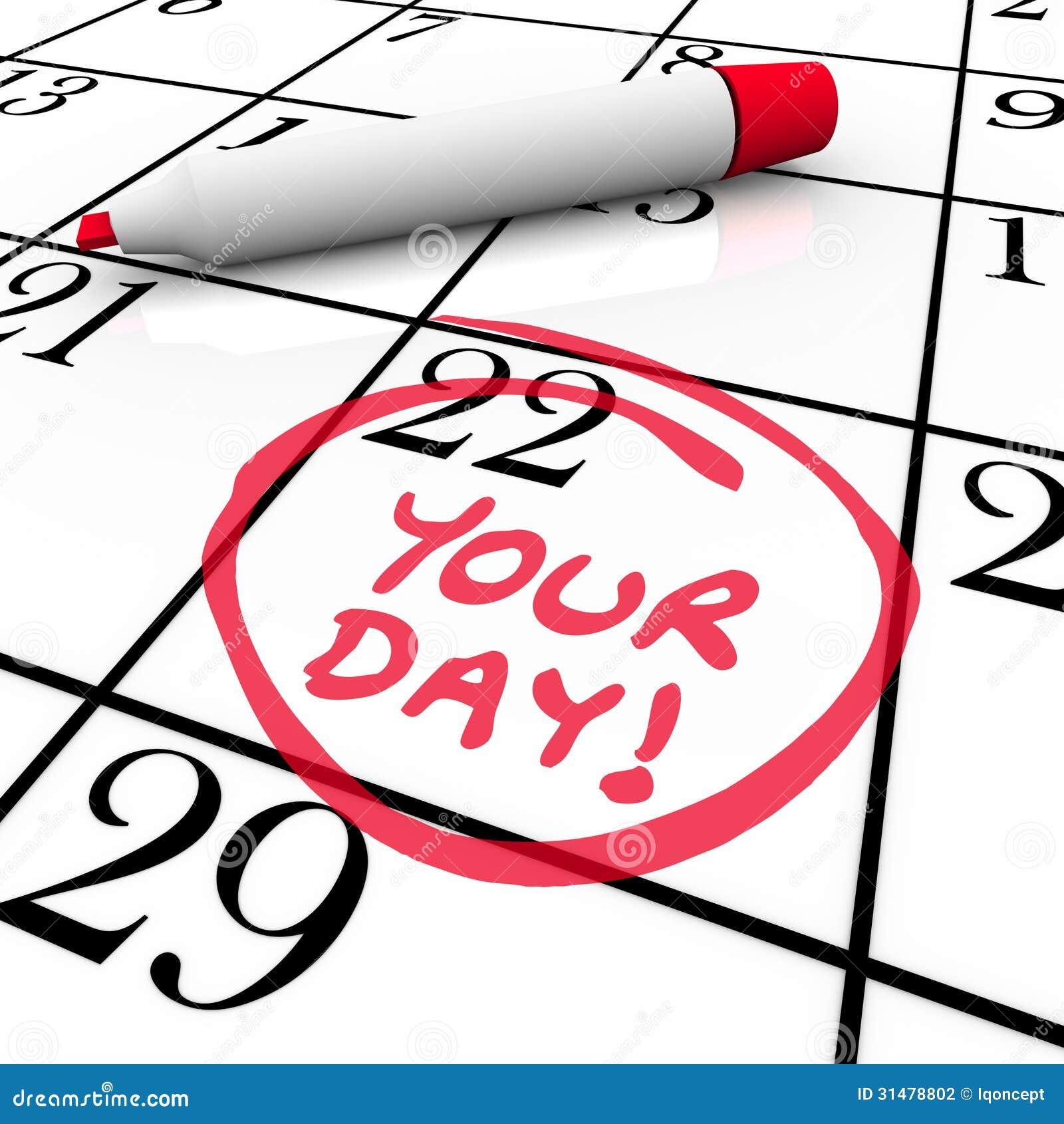 Din semester för ferie för dagordkalender specialt datum cirklade