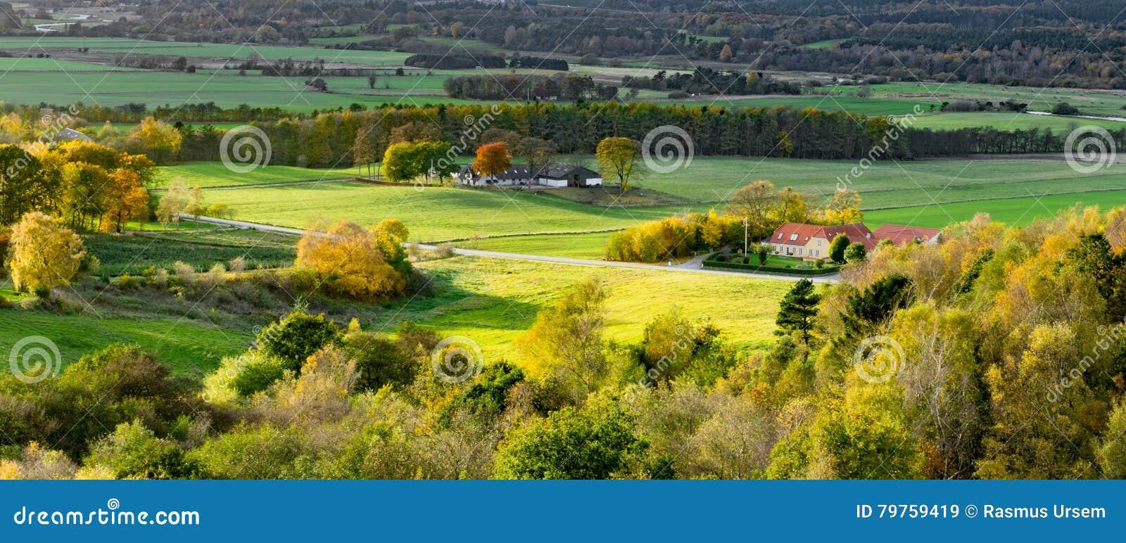 Dinamarca rural em um dia ensolarado do outono