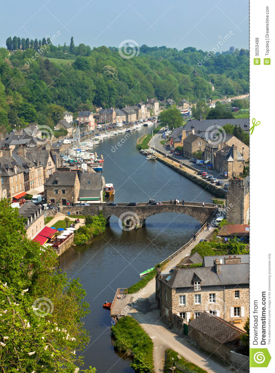 dinan brittany france ancient town on the river stock. Black Bedroom Furniture Sets. Home Design Ideas