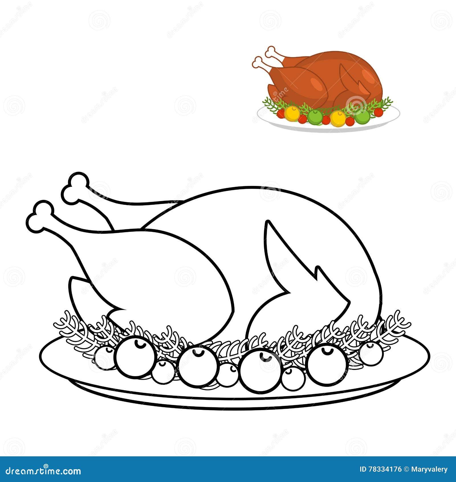 Dinde De Rôti Pour Livre De Coloriage De Thanksgiving Volaille De ...