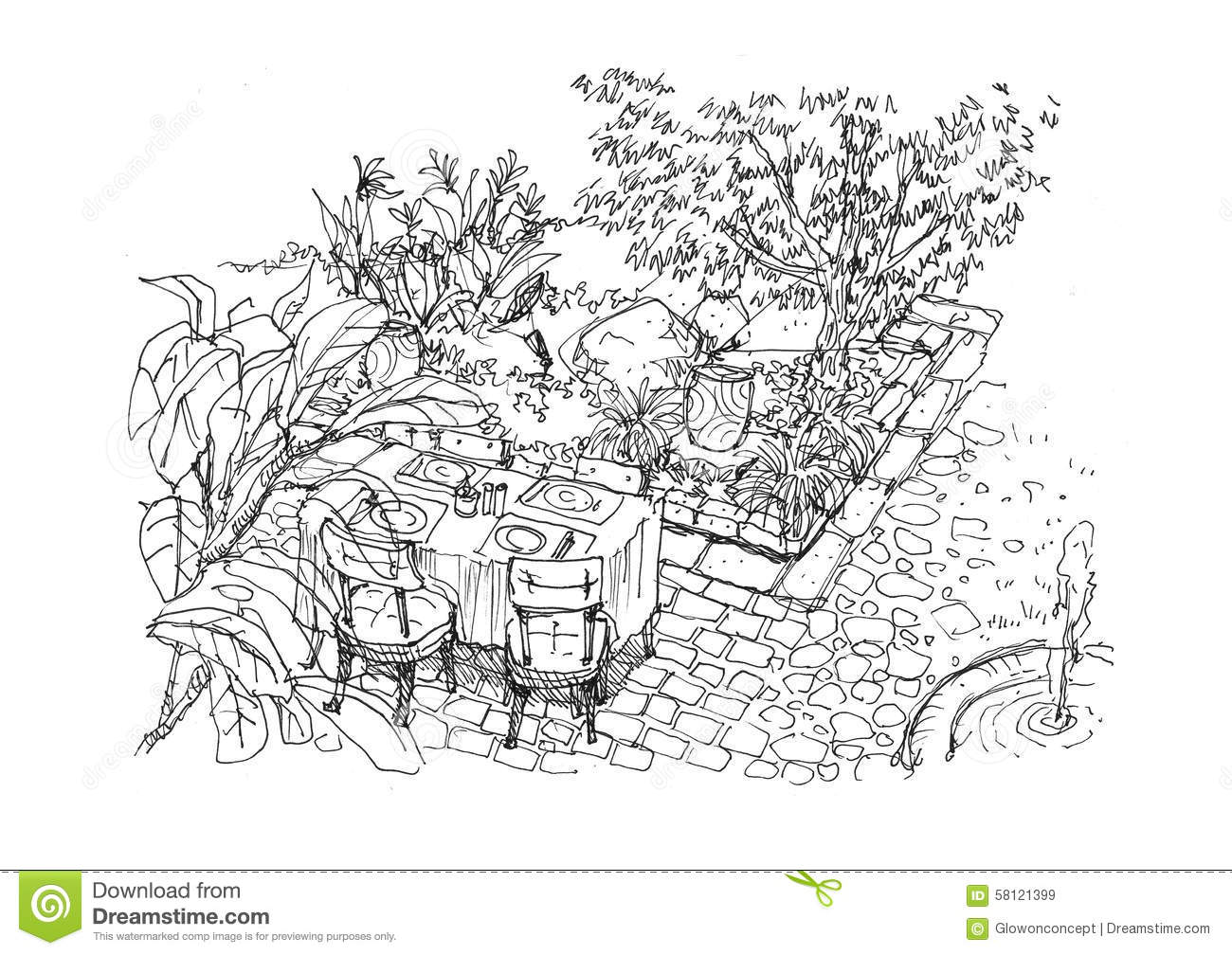 Diner settiing dans l 39 illustration de dessin de main de sc ne de jardin illustration stock for Dessin de table de jardin