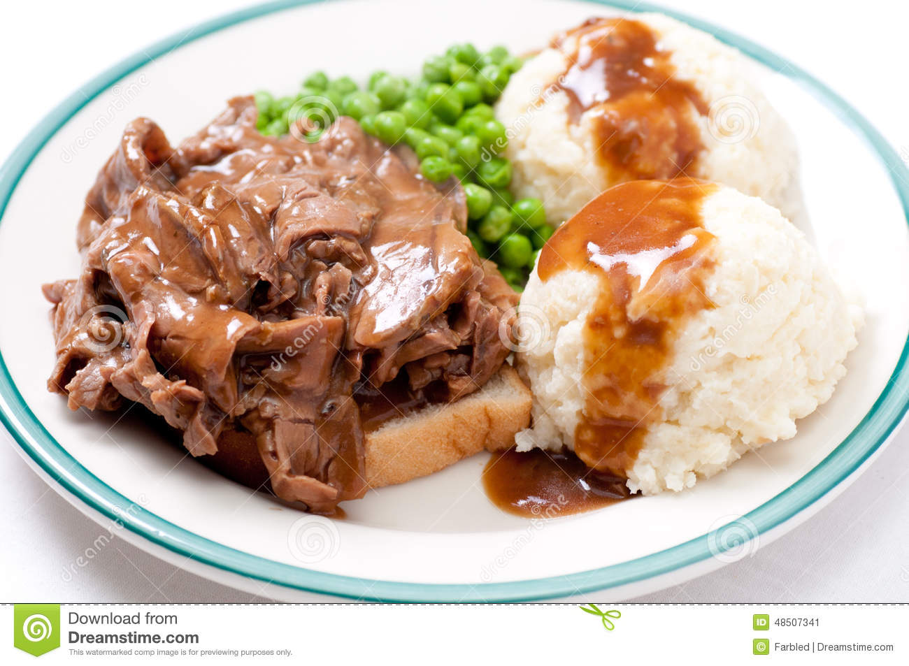 Diner Style Hot Beef Sandwich Stock Image - Image: 48507341