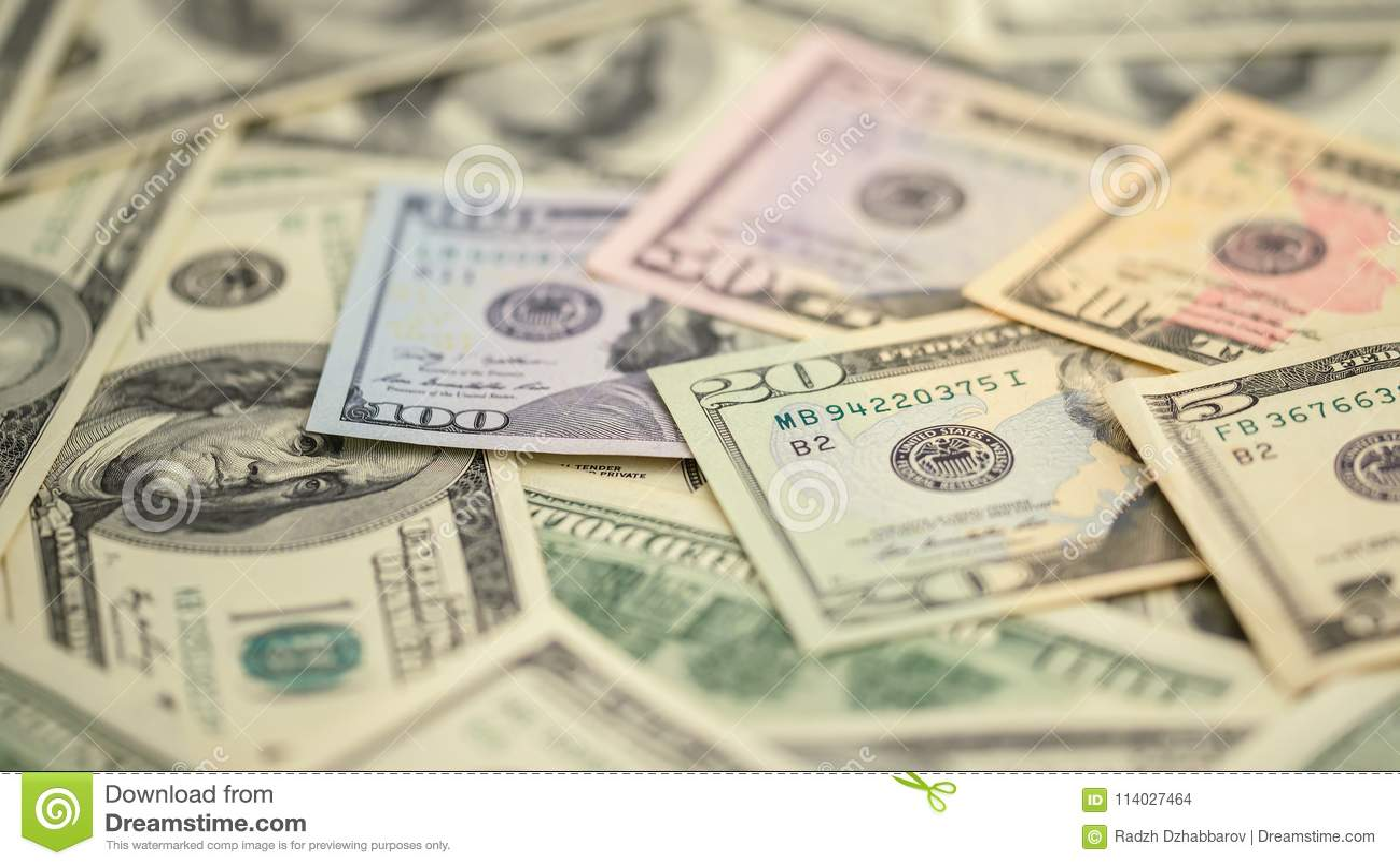 Dinero americano 5,10, 20, 50, nuevo de la serie del primer del fondo billete de dólar 100 Billete de banco macro de los E.E.U.U.