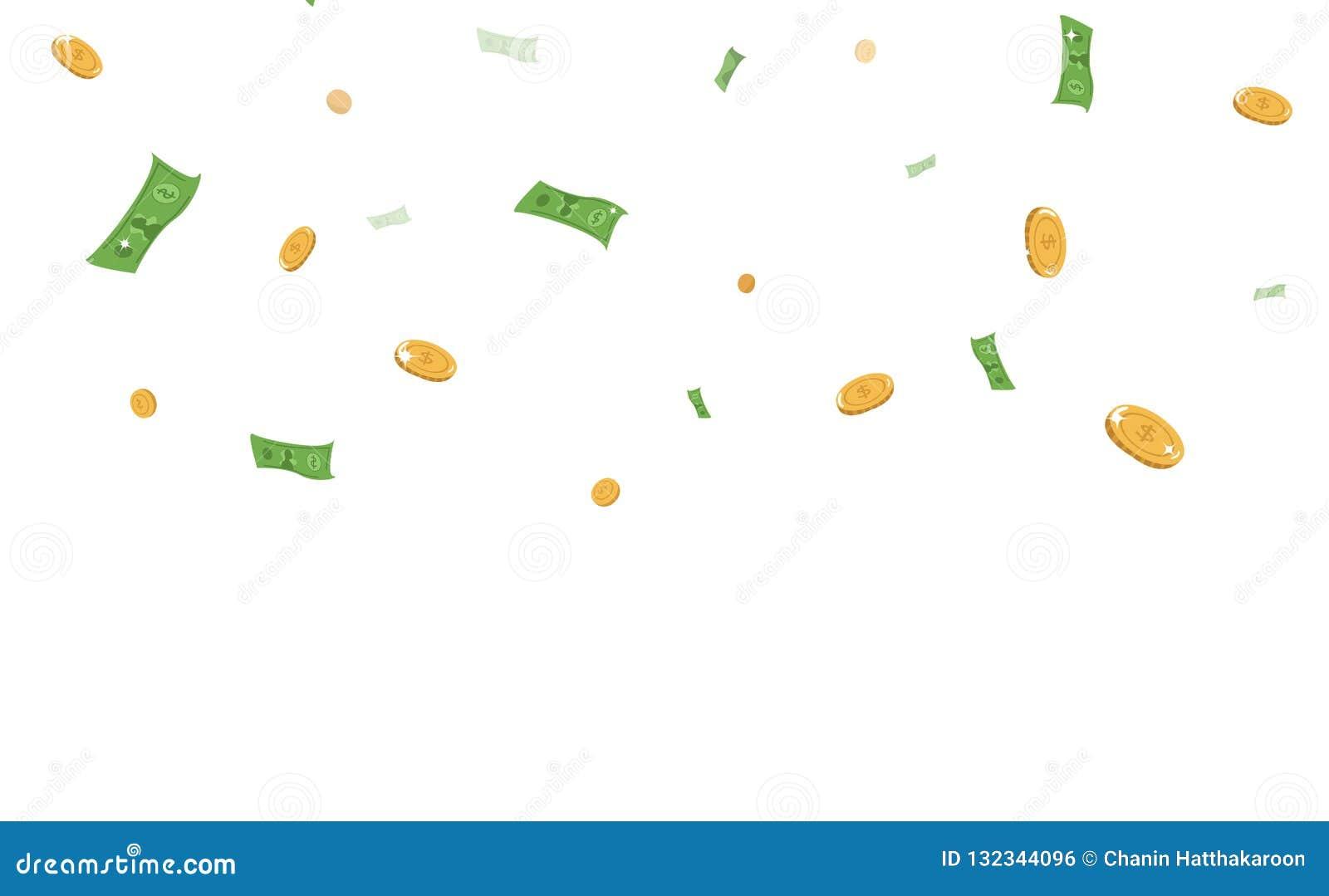Dinero, bancos y monedas cayendo, vector b del dólar del concepto del negocio