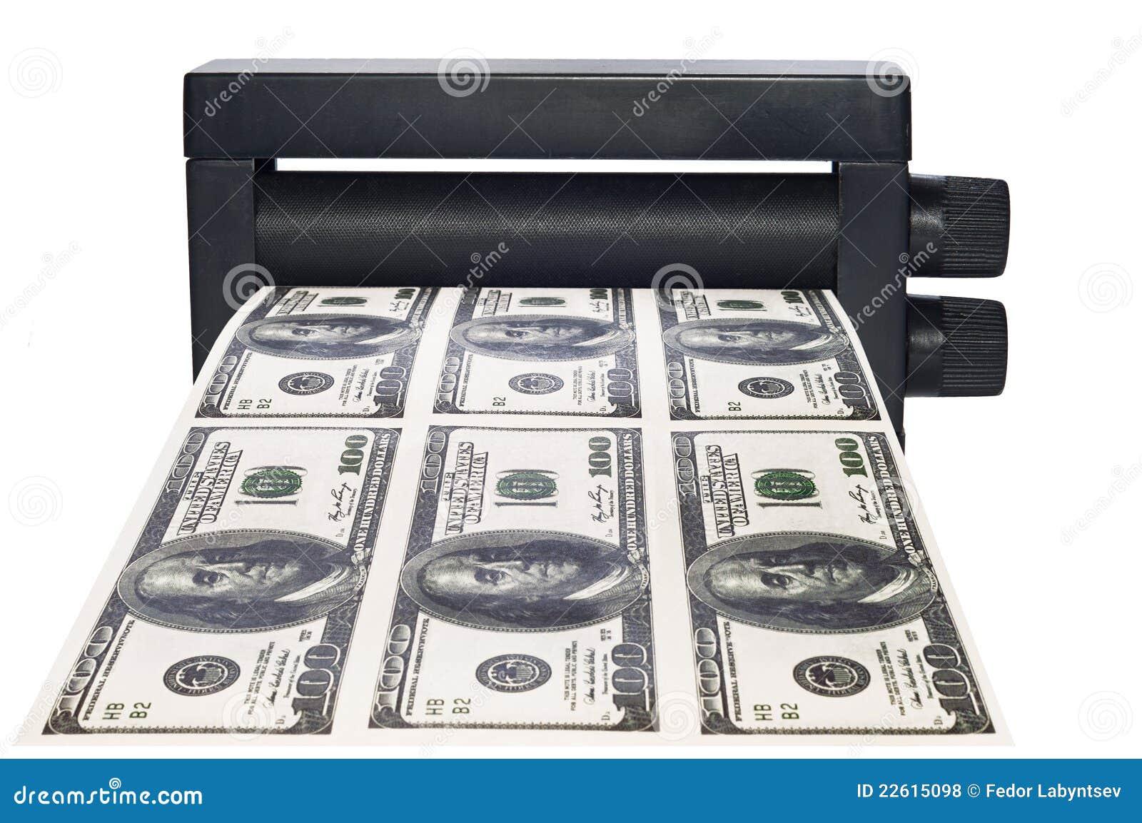 Dinero de la impresión de la máquina