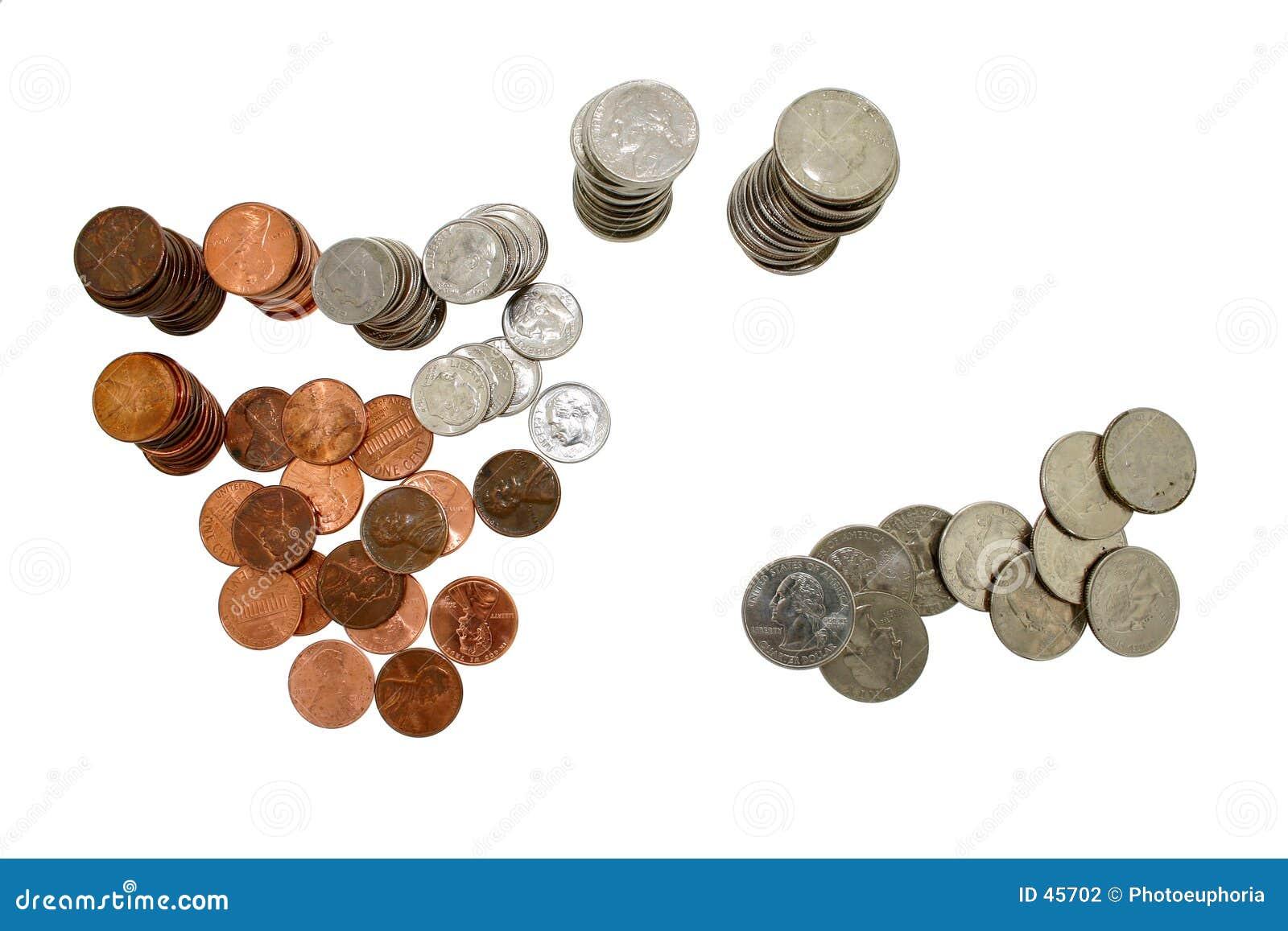 Dinero de la moneda en pilas