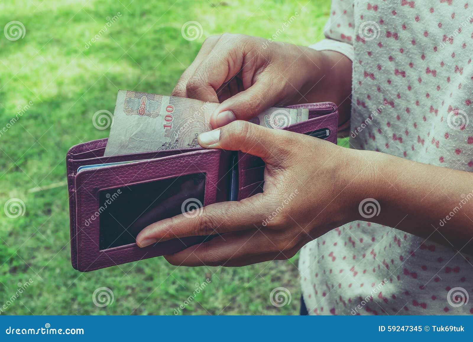 Dinero de la toma de la cartera