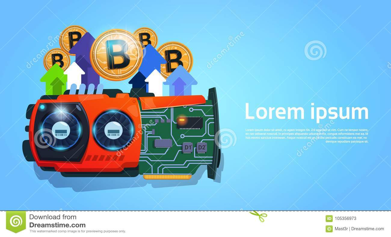 Dinero micro de oro de Bitcoins Chip Digital Currency Modern Web sobre fondo azul con el espacio para el texto