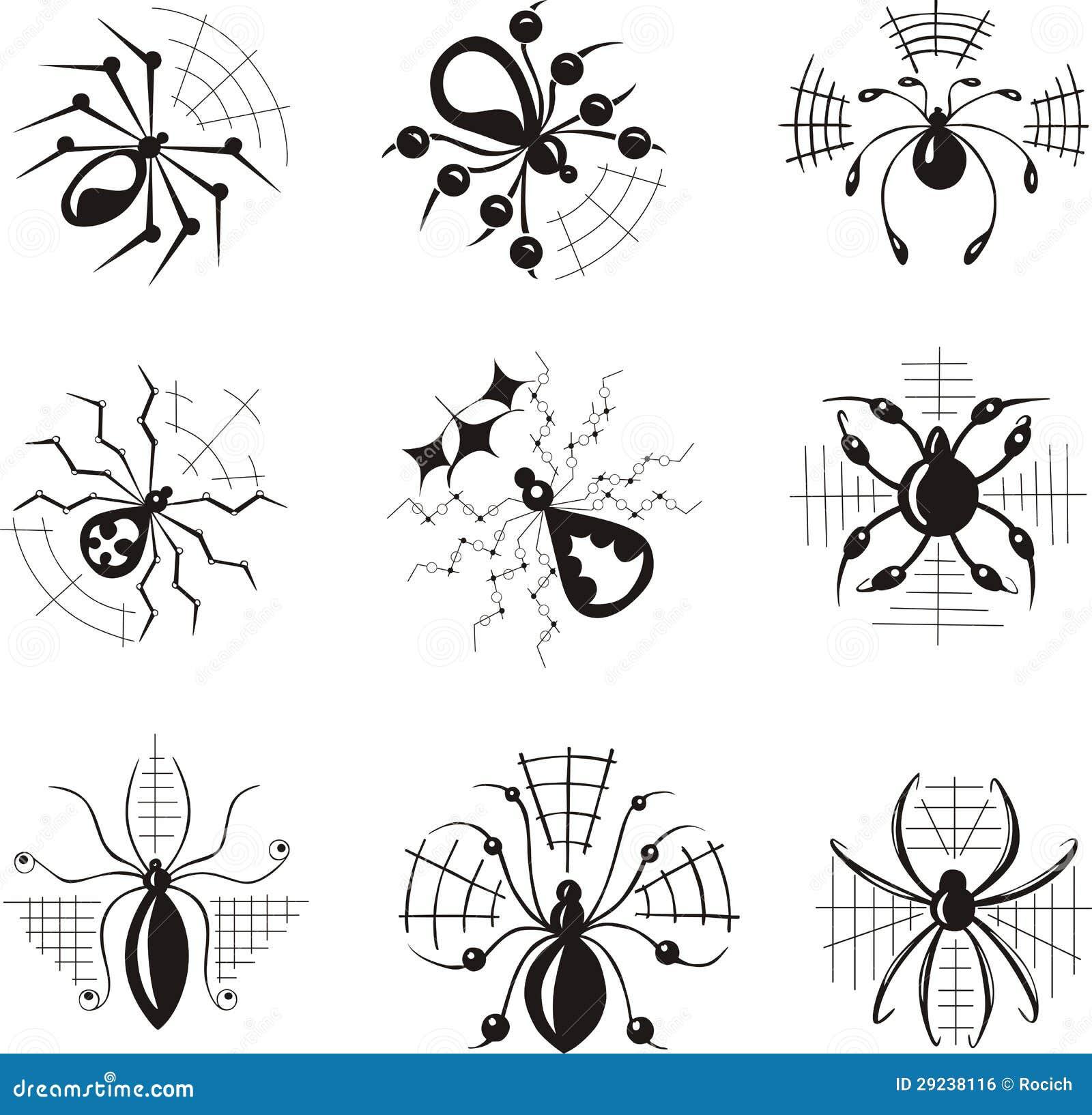 Download Dingbats com aranhas ilustração do vetor. Ilustração de phobia - 29238116