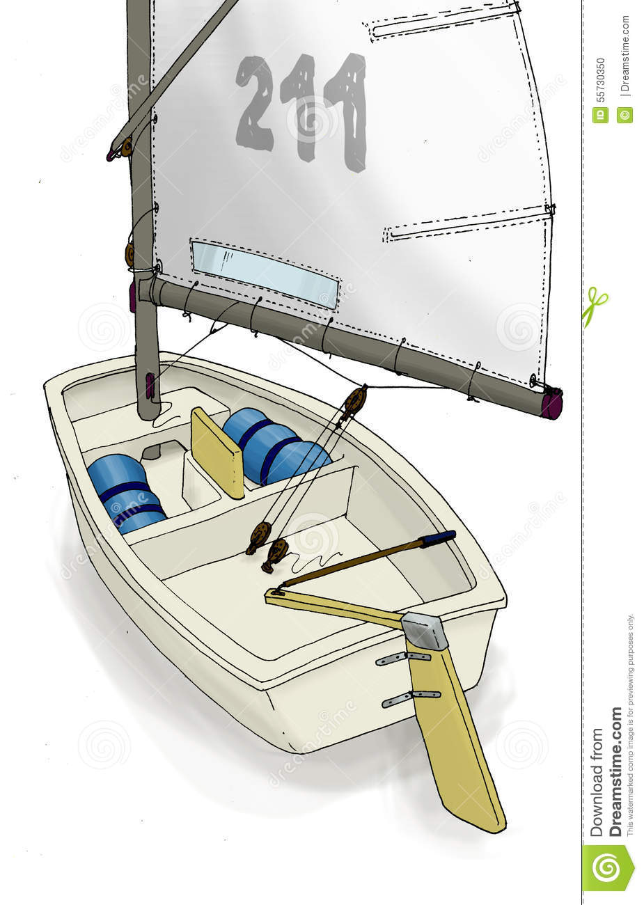 Illustration of the Optimist, dinghy Sailboat. Technical drawing with ...