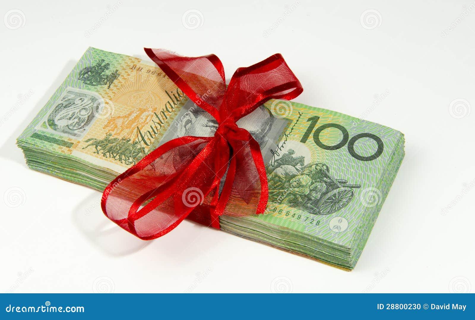Dinheiro australiano amarrado acima