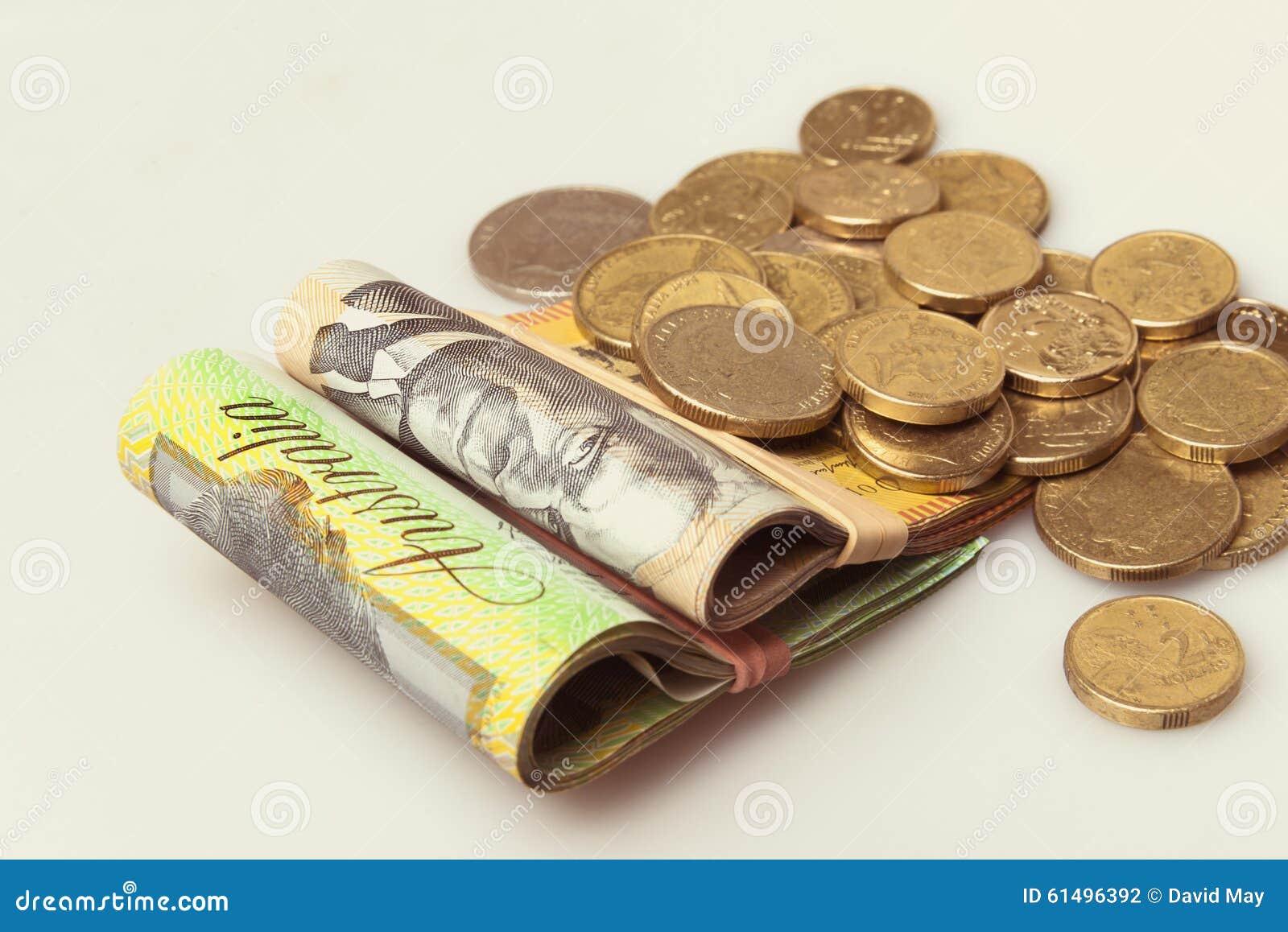 Dinheiro australiano notas e moedas dobradas