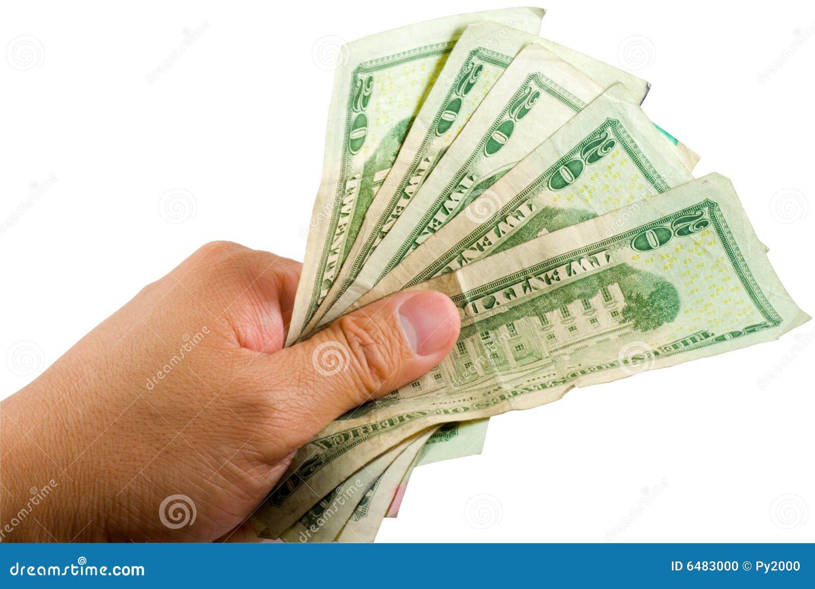 Dinheiro de Holdnig da mão