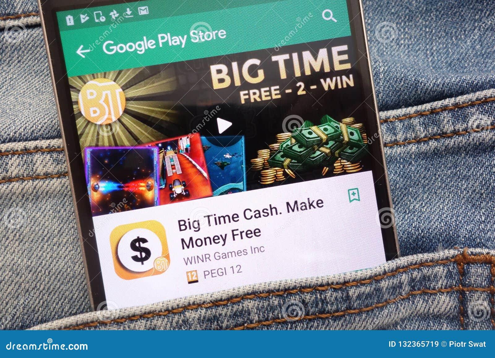 Dinheiro do máximo Faça a dinheiro o app livre no Web site do Google Play Store indicado no smartphone escondido no bolso das cal