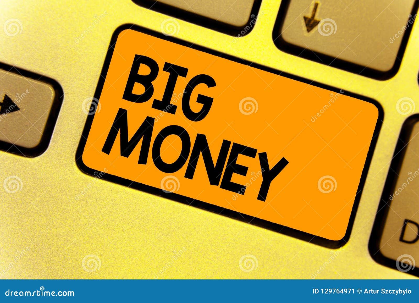 Dinheiro grande do texto da escrita da palavra Conceito do negócio para referir-se muitos ernings de um trabalho, de um negócio,