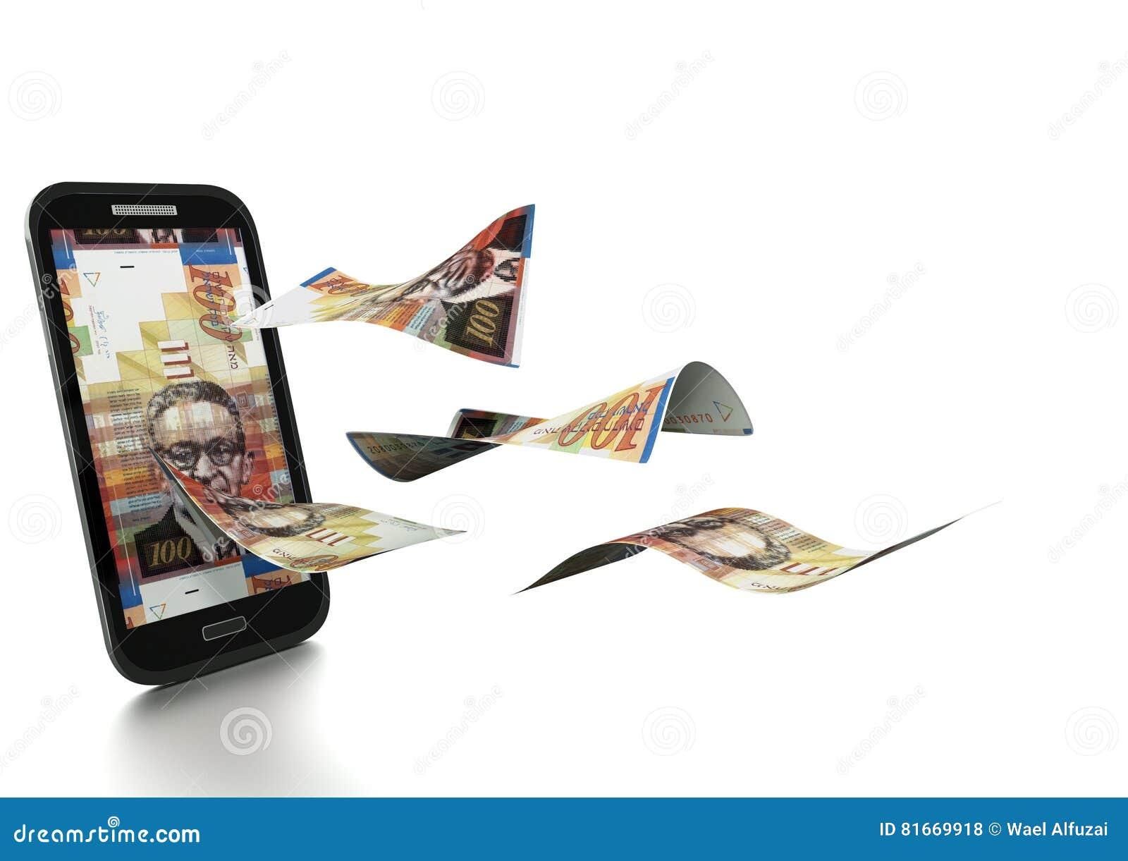 Dinheiro novo rendido 3D do shekel de Iraeli inclinado e isolado no fundo branco