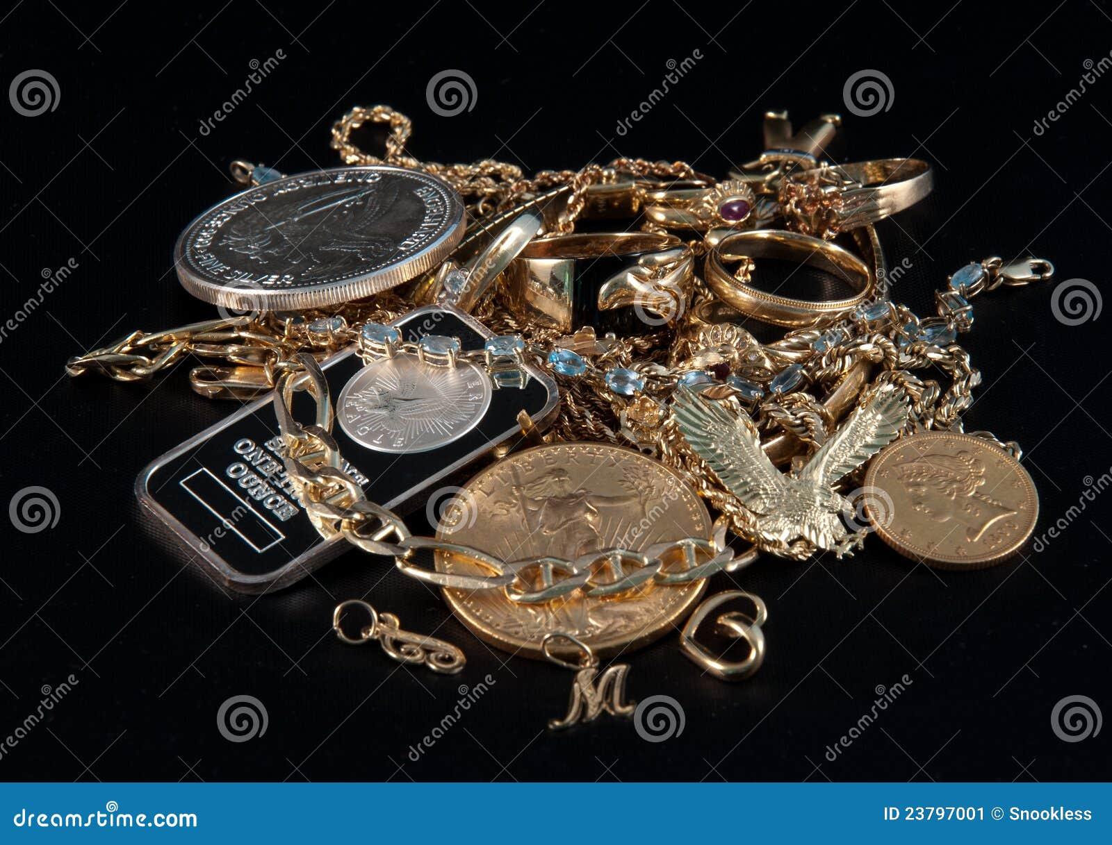 Dinheiro para jóias e ouro