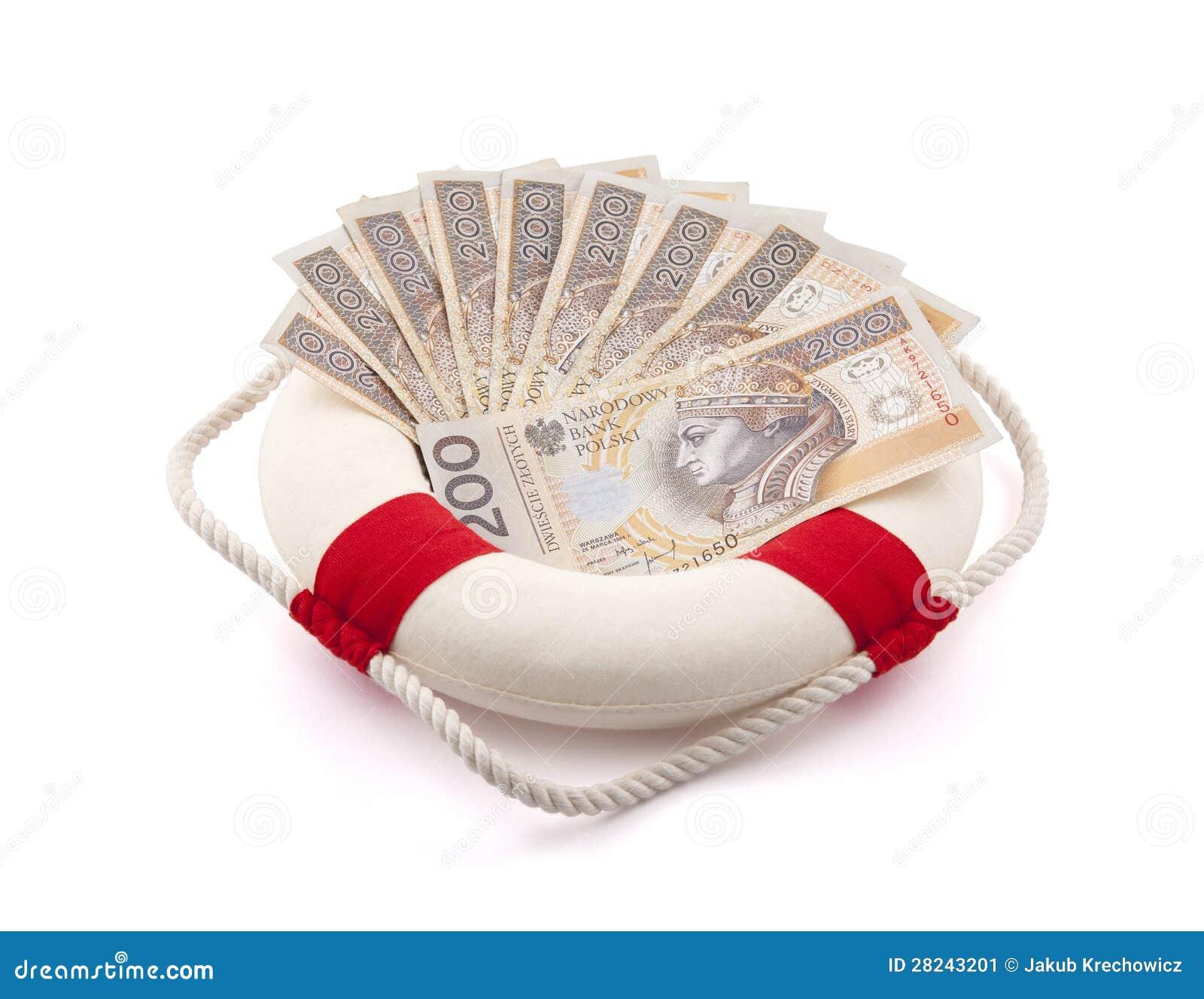 Dinheiro polonês em lifebuoy