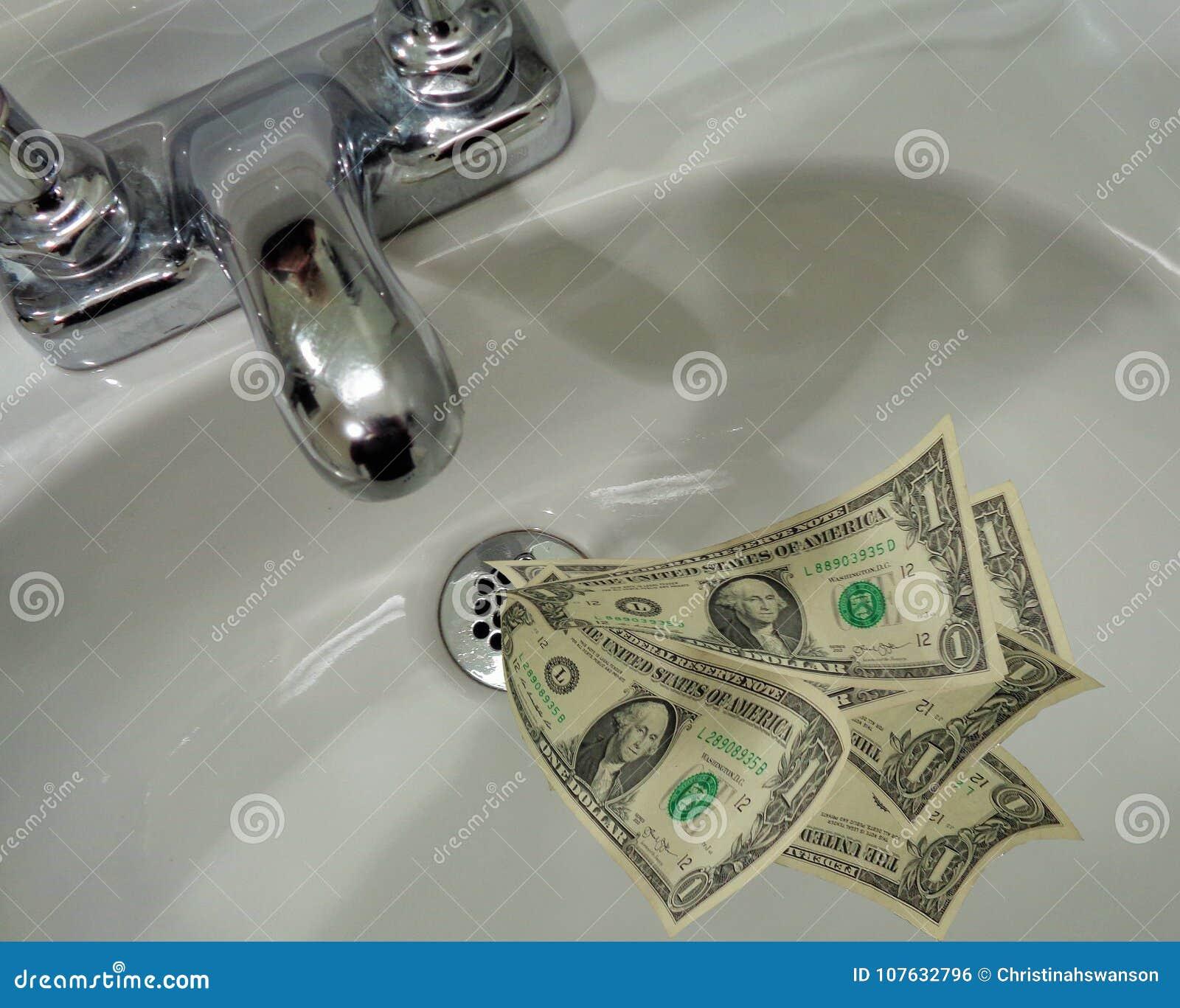 Dinheiro que vai abaixo do dreno