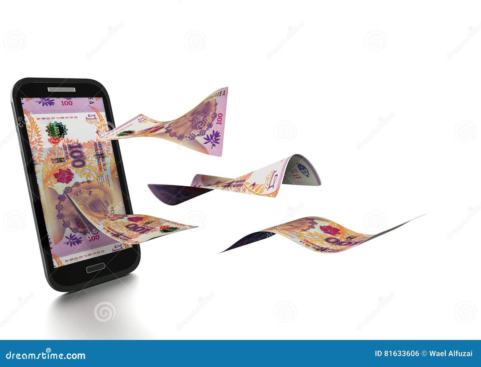 Dinheiro rendido 3D de Argentina inclinado e isolado no fundo branco