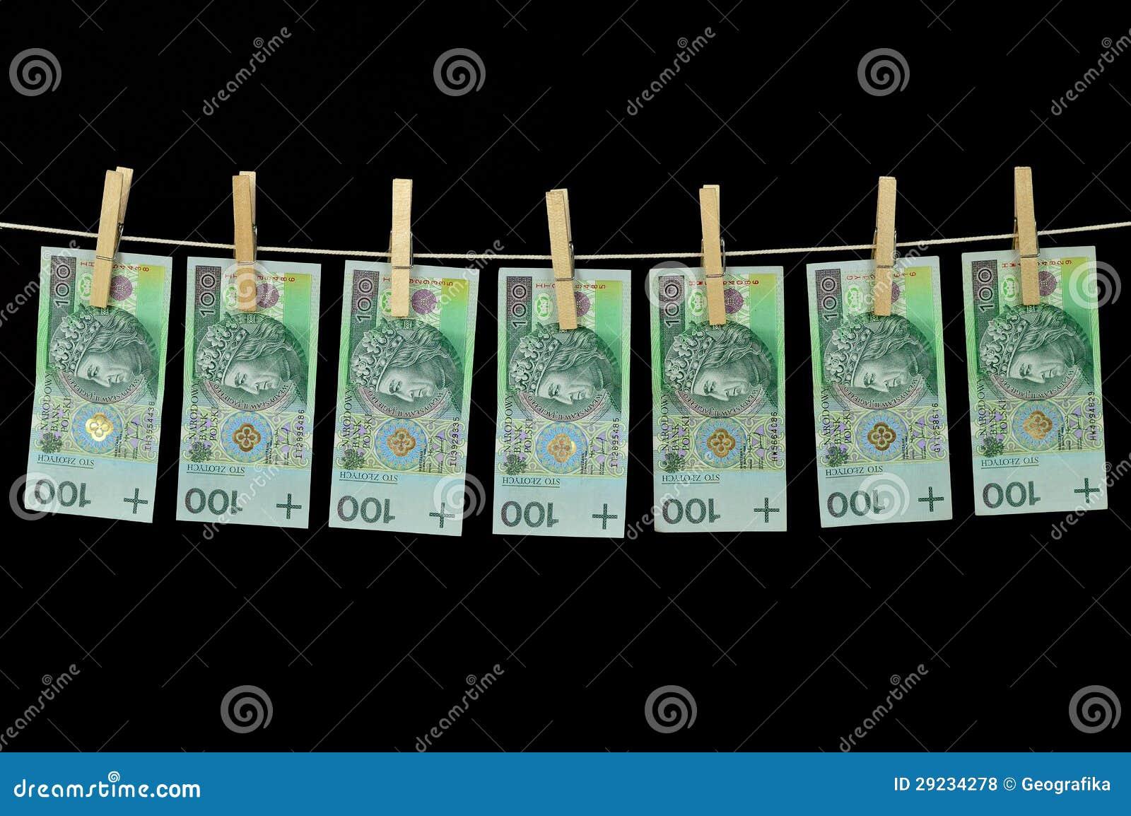 Download Dinheiro Sujo Que Pendura De Um Clothesline Isolado No Preto Foto de Stock - Imagem de renda, lavagem: 29234278