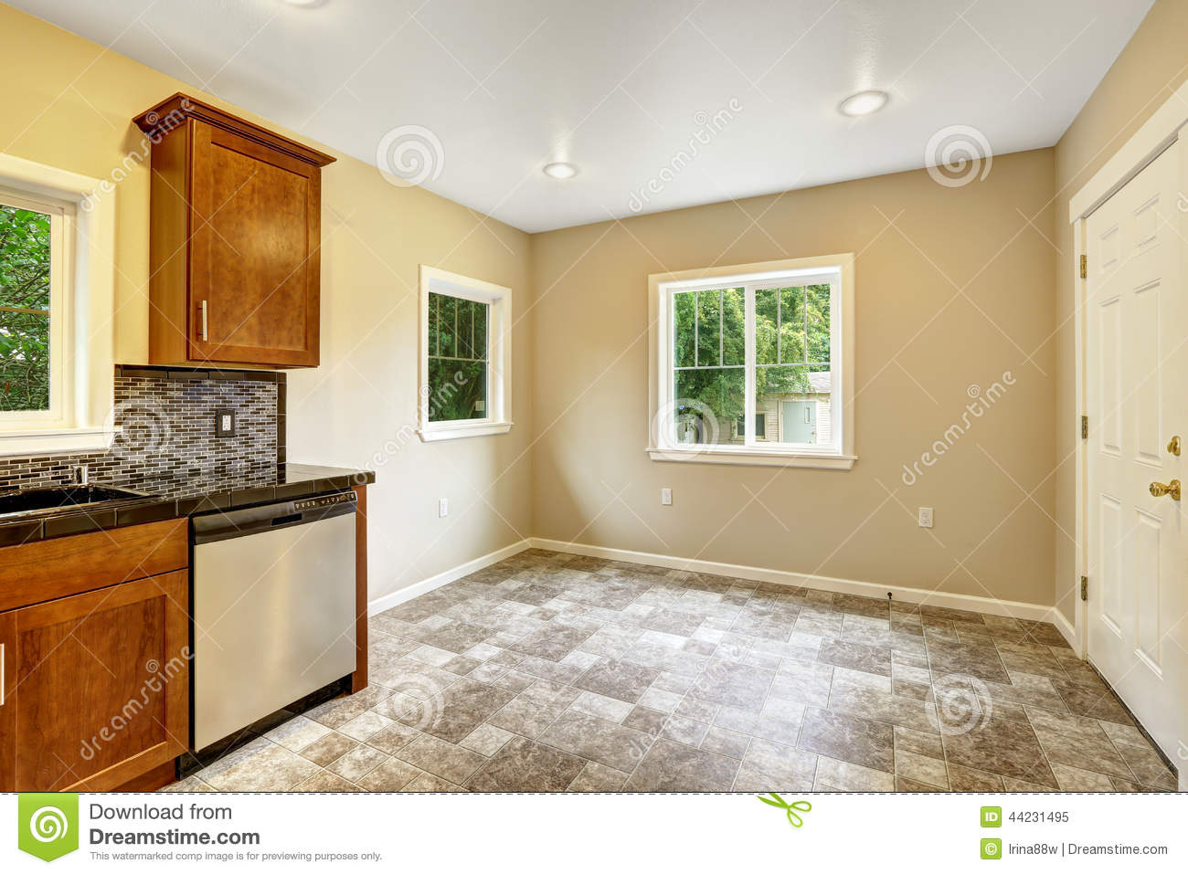 Dining Area In Empty Kitchen Room Stock Image Image Of Area