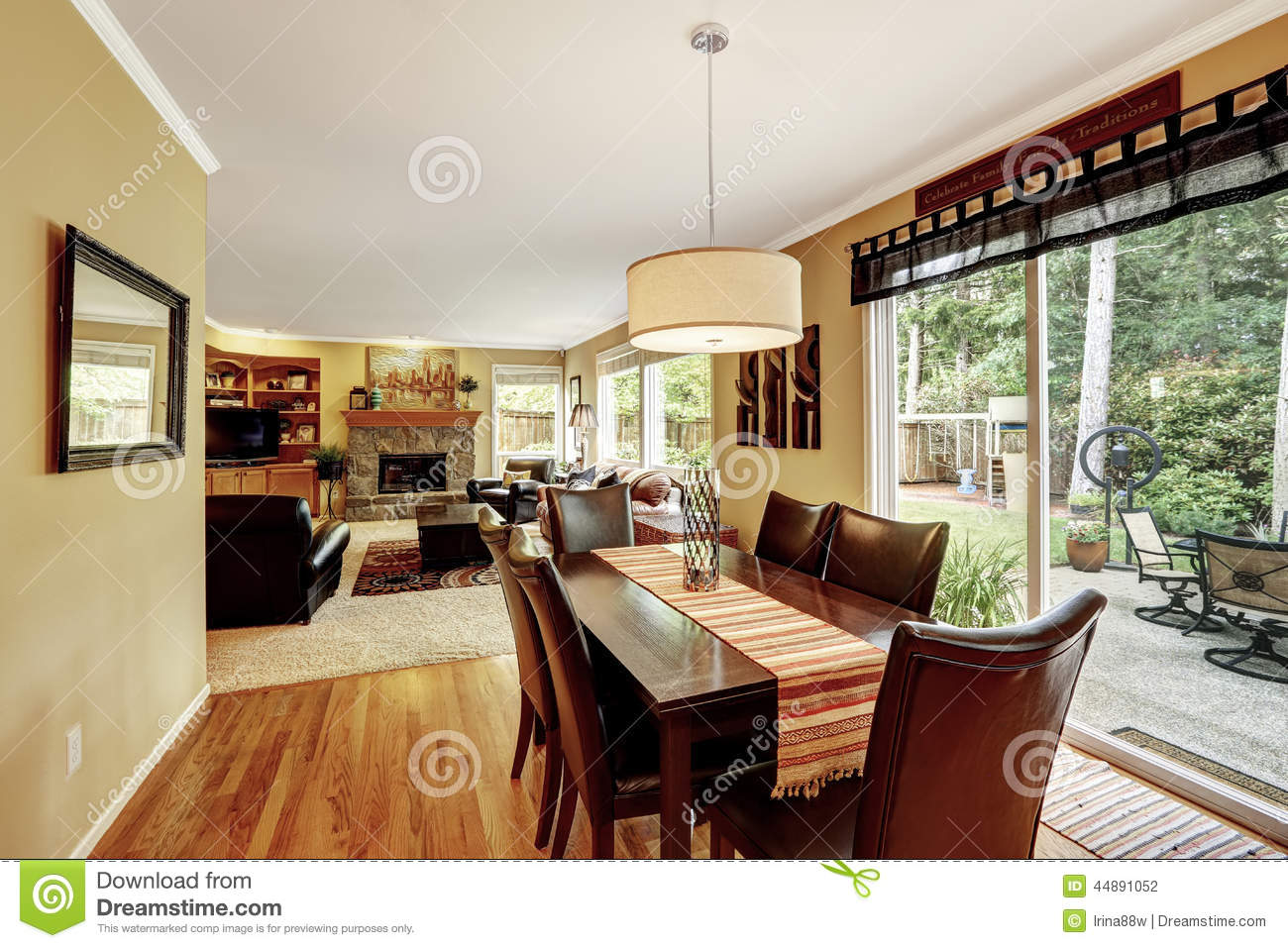 dining area with exit to patio area stock photo image 44891052