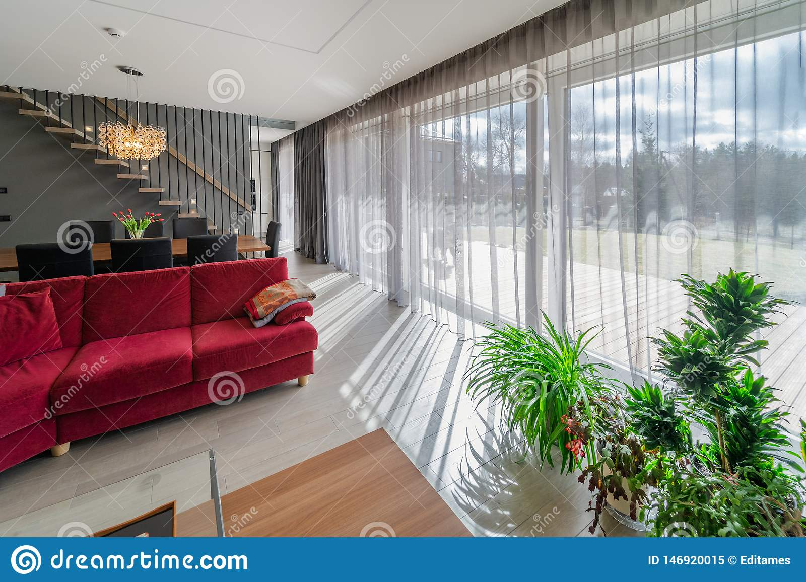 Dining area and living room in the interior of modern house