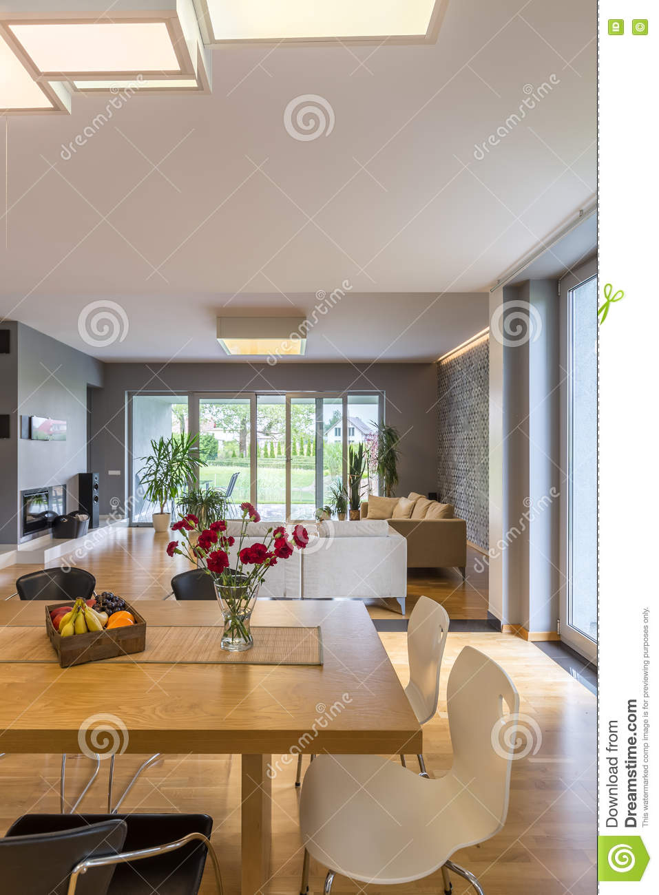 Modern Open Plan Living Space With Dining Area Stock Photo 14466870
