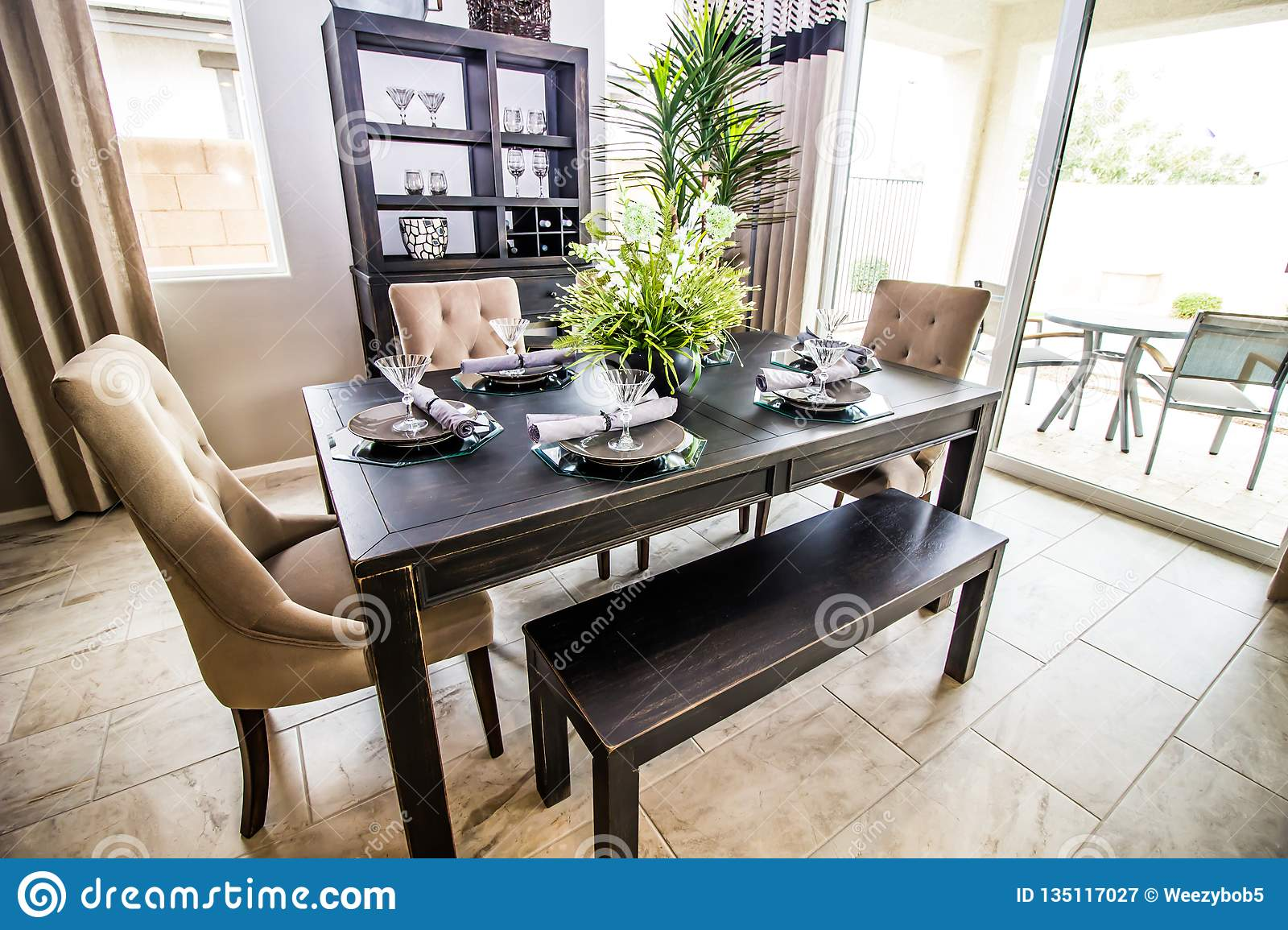 Fantastic Dining Area With Six Place Settings Stock Image Image Of Onthecornerstone Fun Painted Chair Ideas Images Onthecornerstoneorg