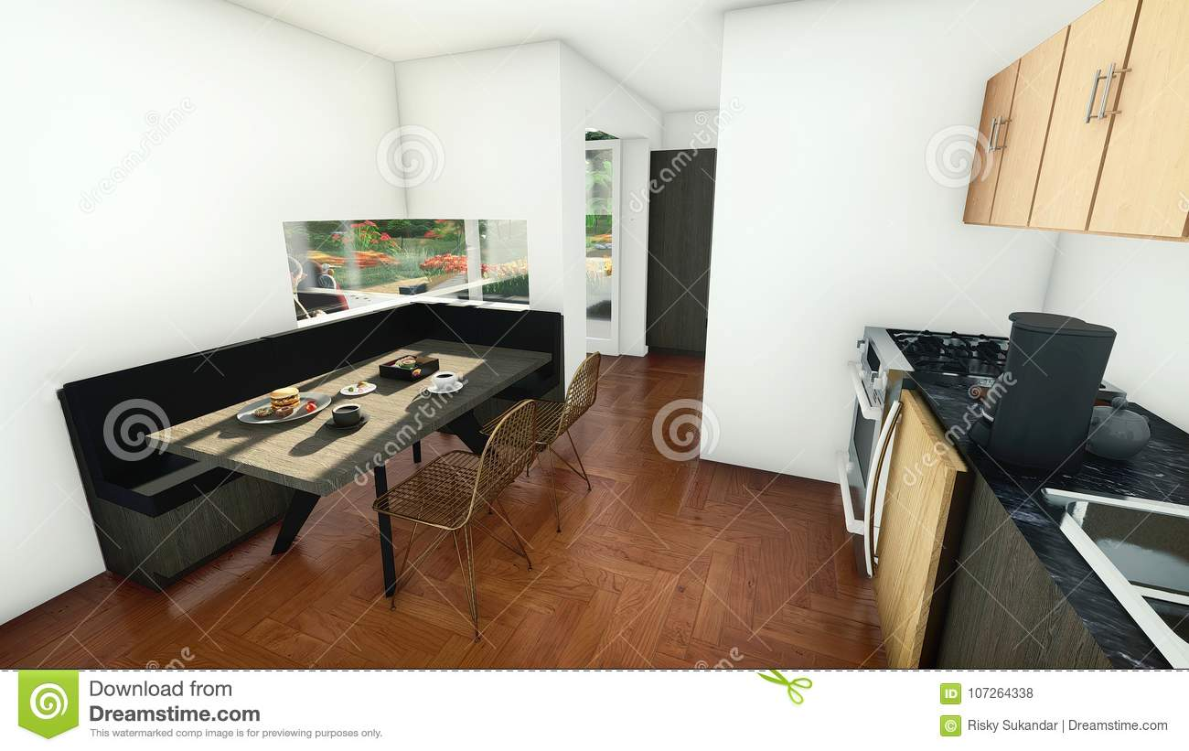 Dining area in the small kitchen