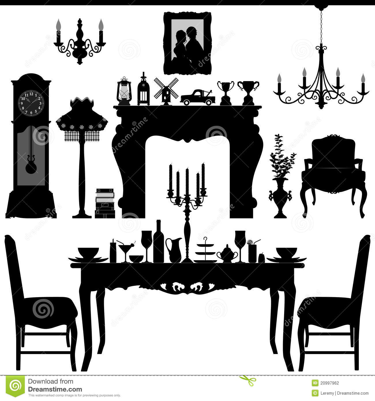 Kitchen Table Clip Art: Dining Area Traditional Old Antique Furniture Inte Stock