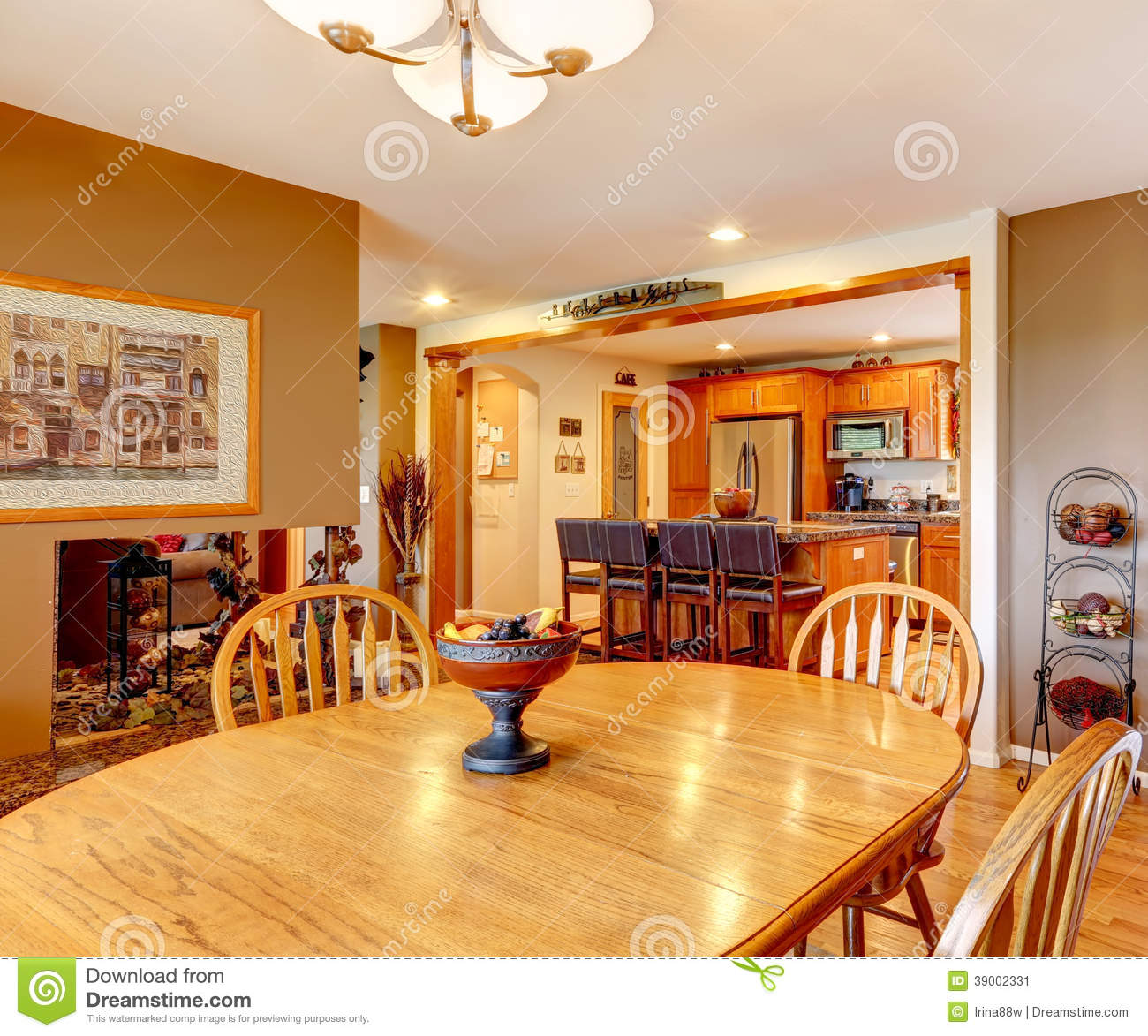 Dining area with wooden table set stock photo image for Dining area interior