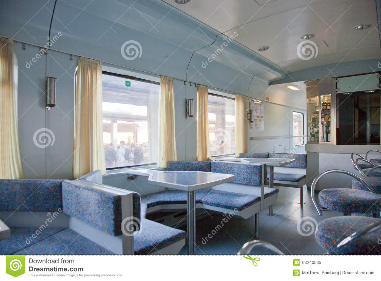 dining car at european train station editorial image image 63240535. Black Bedroom Furniture Sets. Home Design Ideas