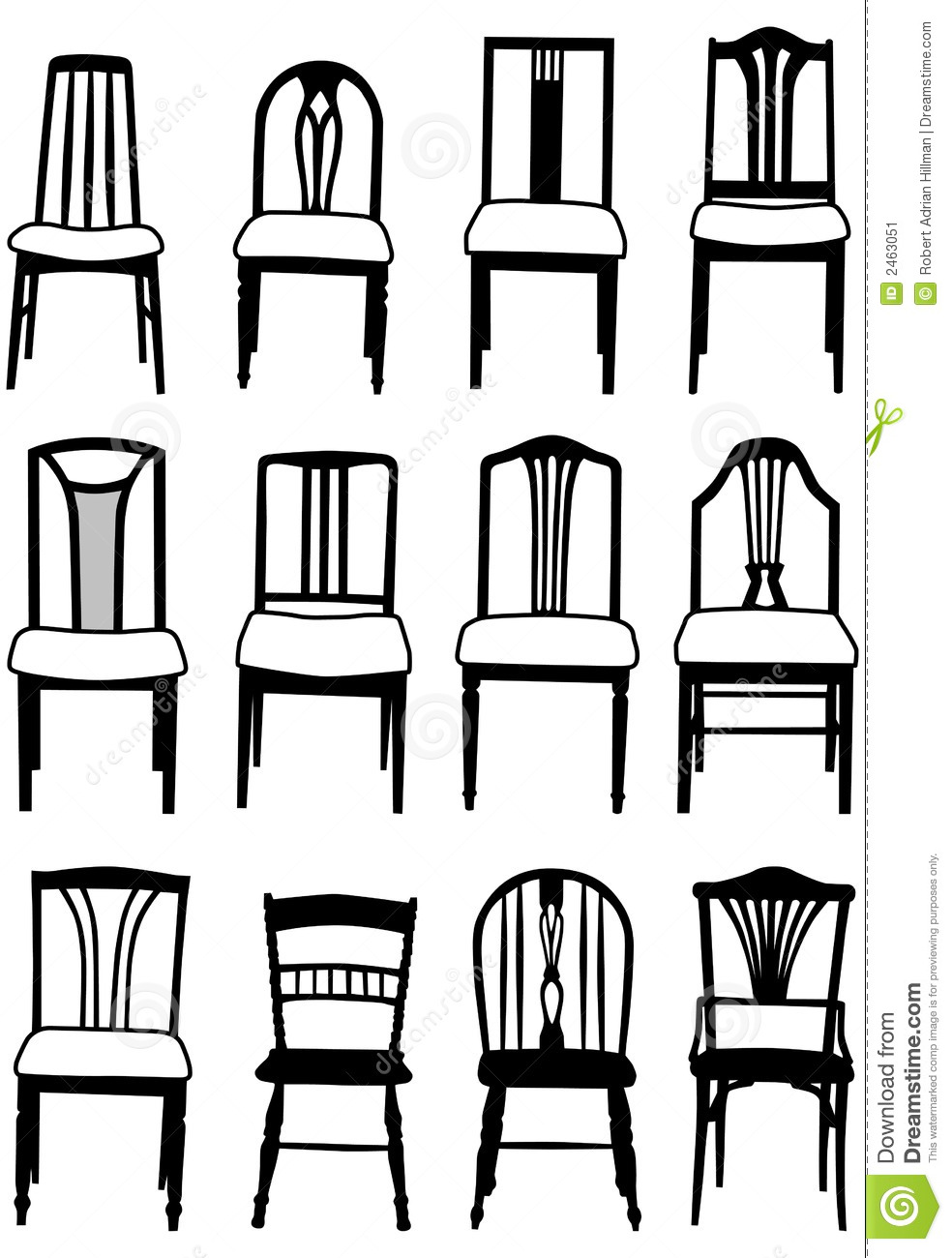 Dining chairs stock vector. Illustration of chair, collection